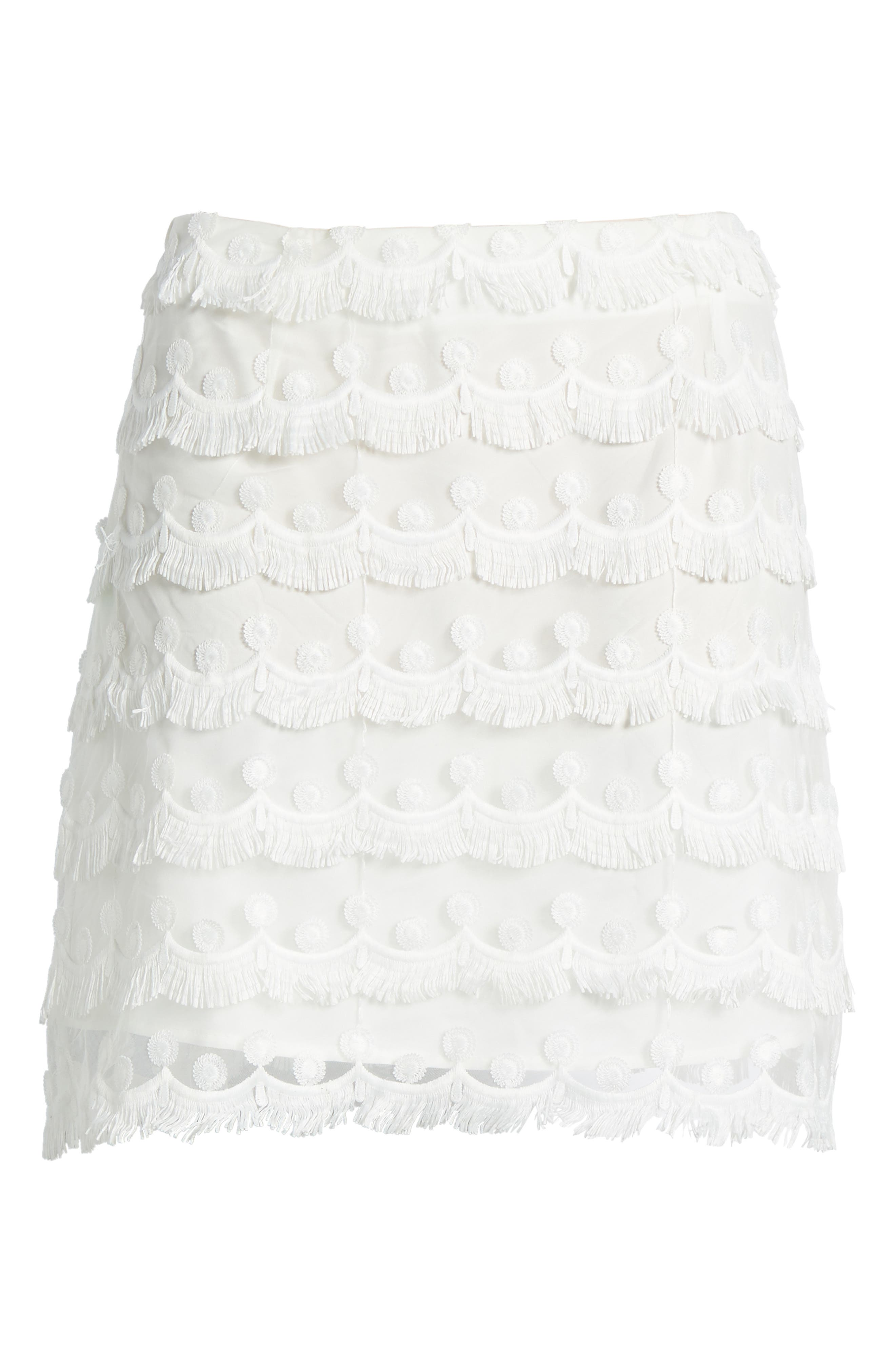 3D Lace Fringed Miniskirt,                             Alternate thumbnail 7, color,                             White