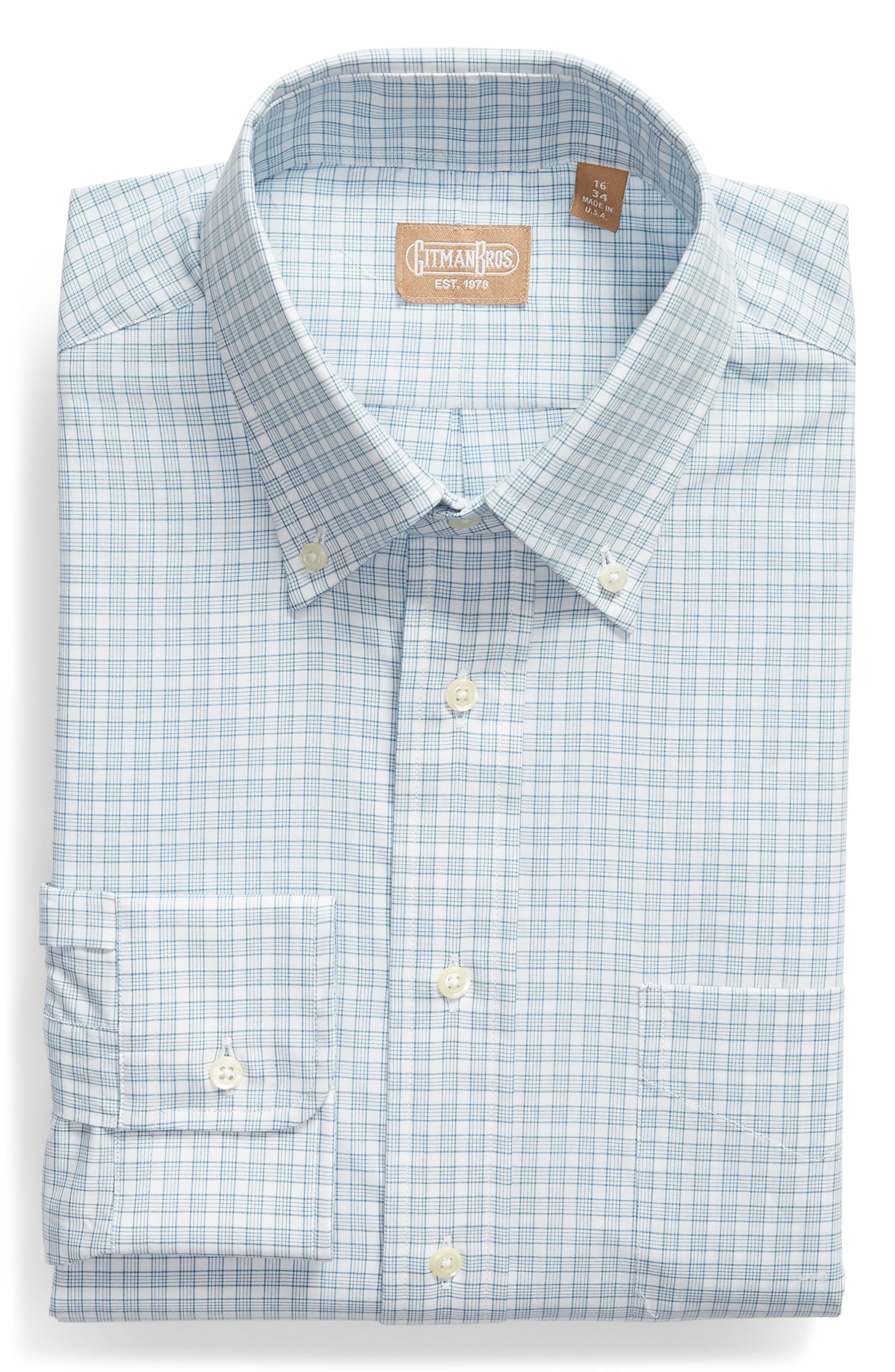 Tailored Fit Check Dress Shirt,                             Alternate thumbnail 5, color,                             Navy