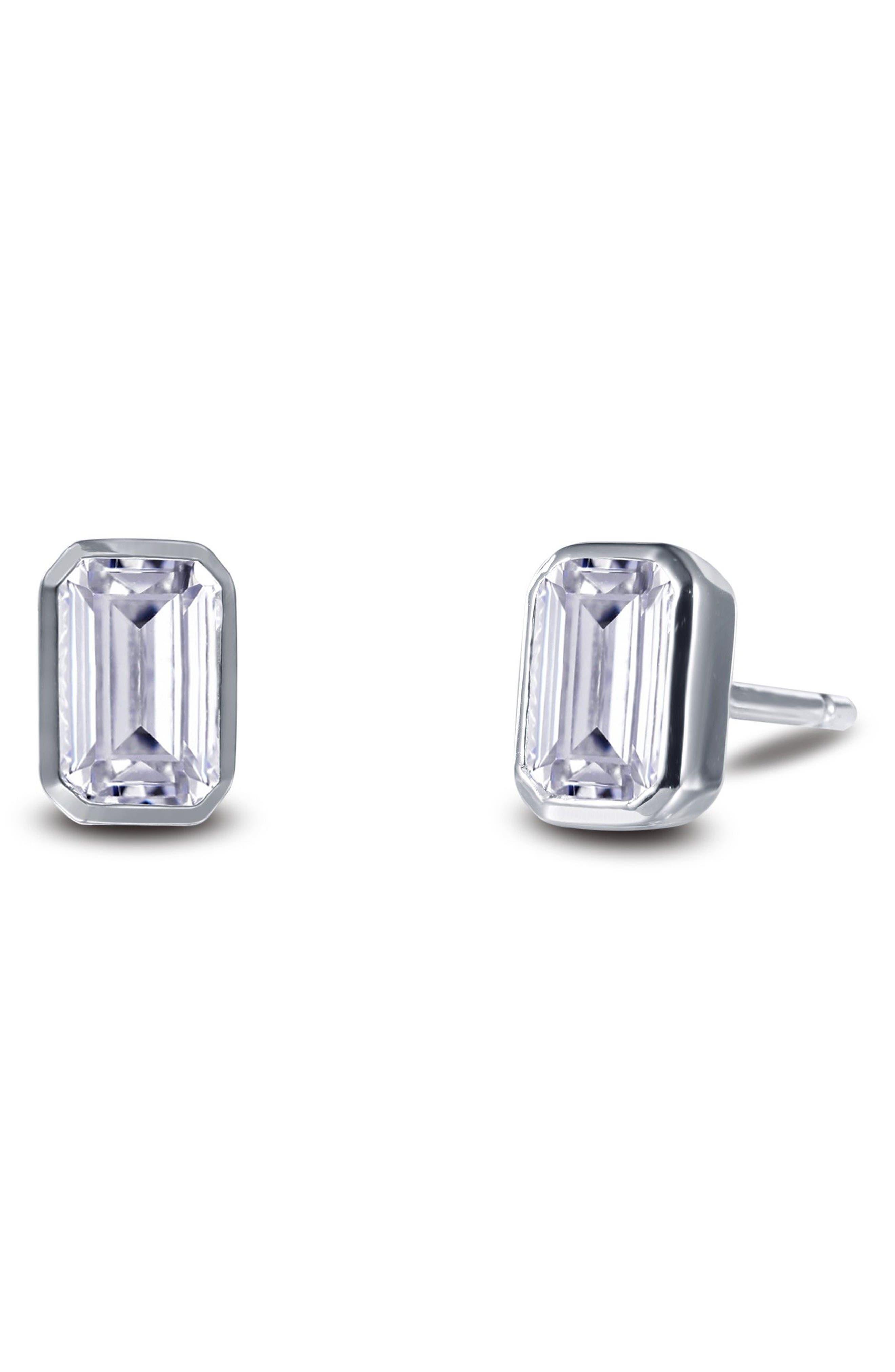 Bezel-Set Emerald Cut Stud Earrings,                             Alternate thumbnail 3, color,                             Silver/ Clear