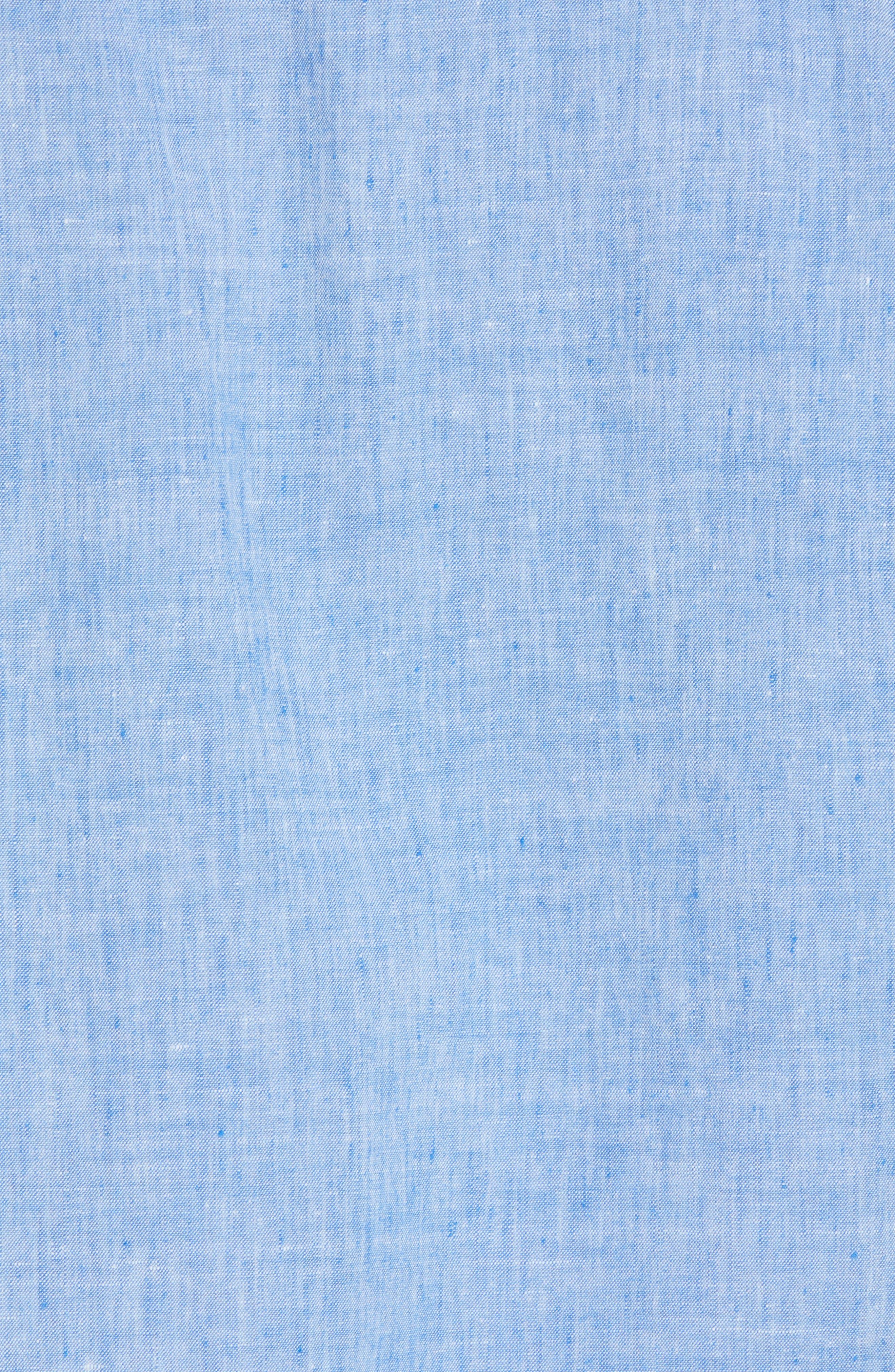 Lanai Tides Linen Blend Sport Shirt,                             Alternate thumbnail 5, color,                             Cobalt Sea