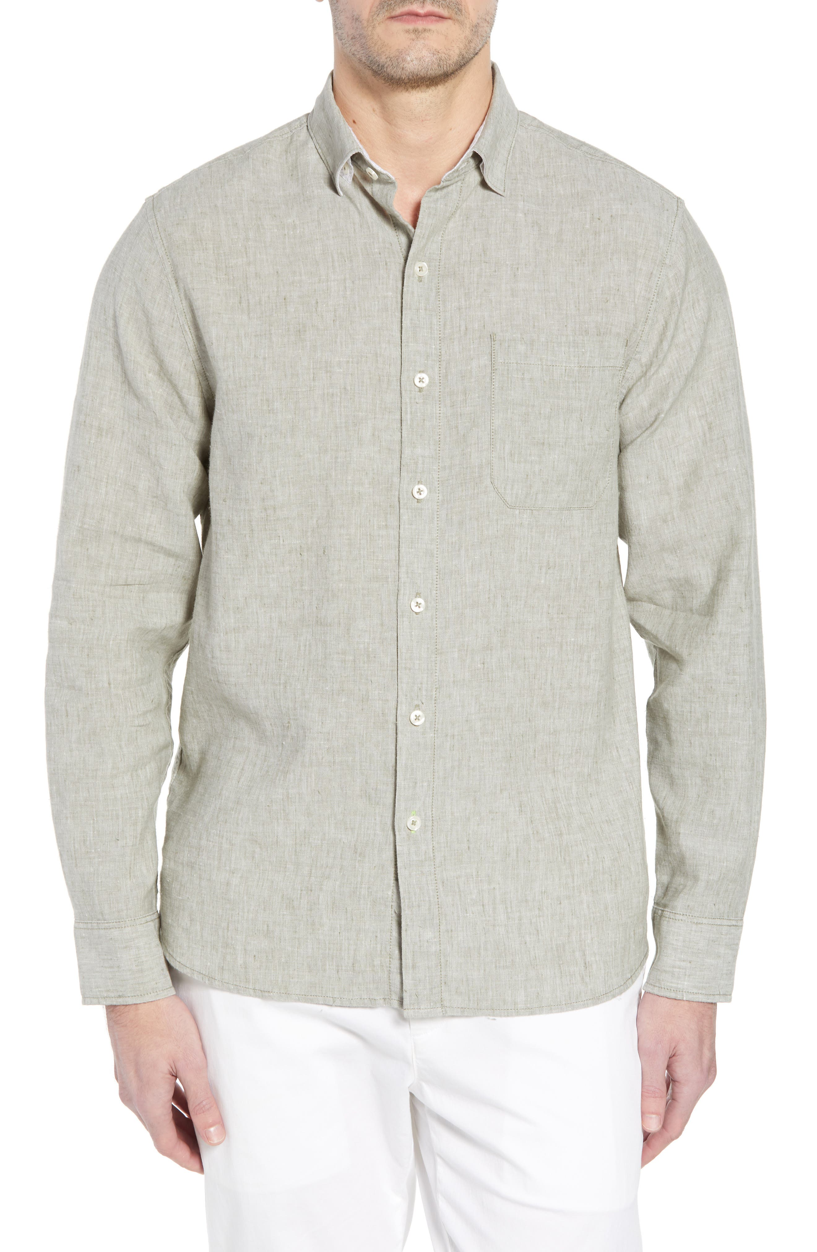 Alternate Image 1 Selected - Tommy Bahama Lanai Tides Regular Fit Linen Blend Sport Shirt
