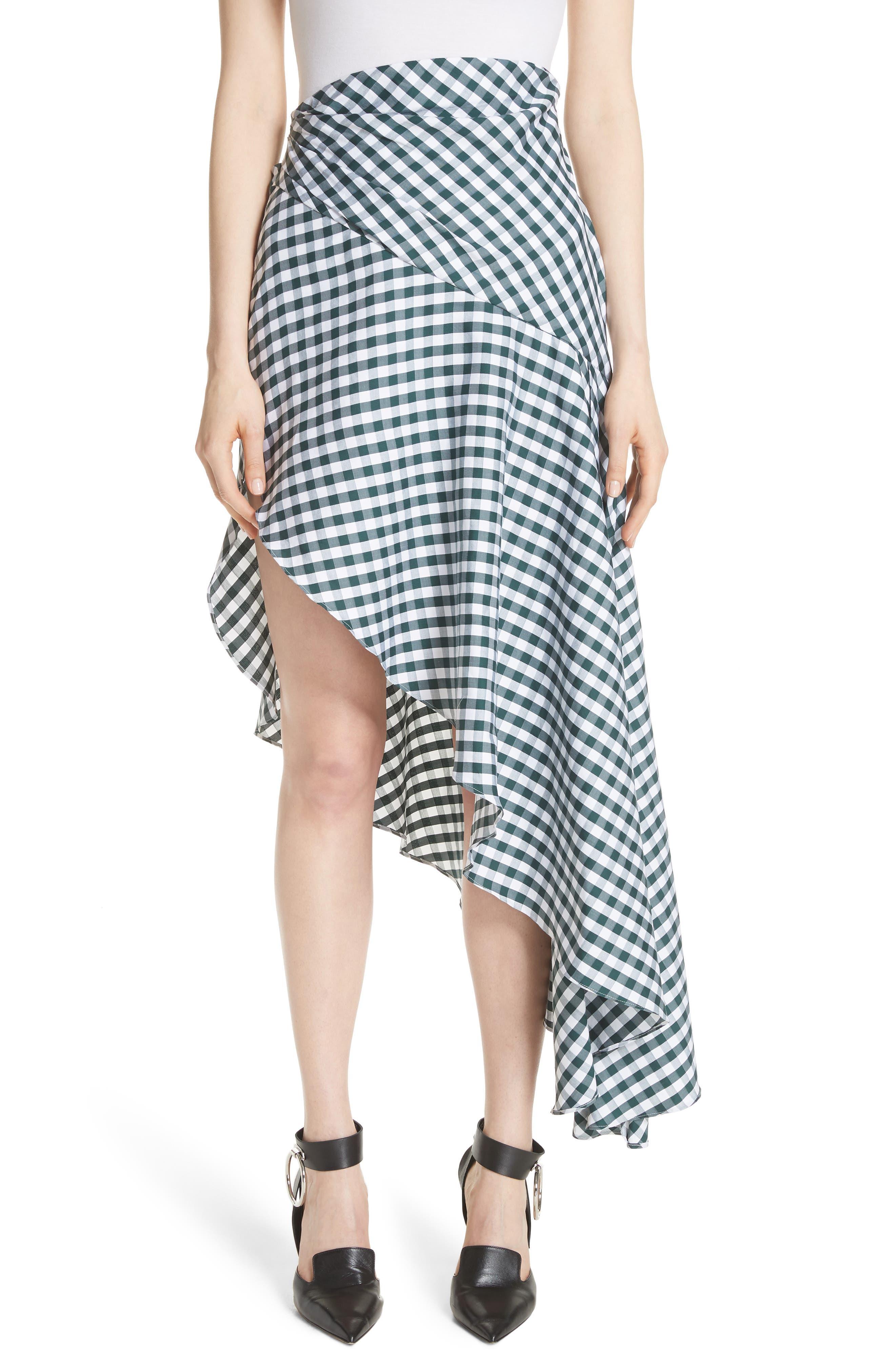 MONSE Asymmetrical Gingham Skirt