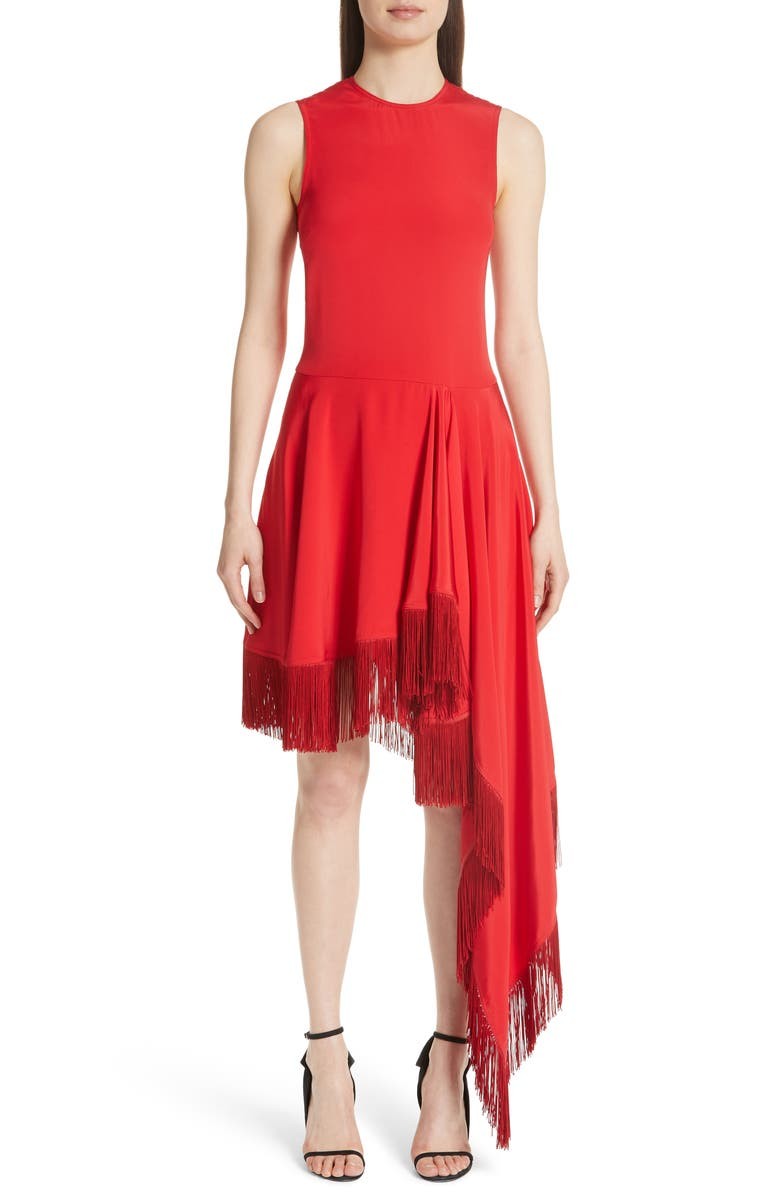 Asymmetrical Fringe Hem Silk Dress