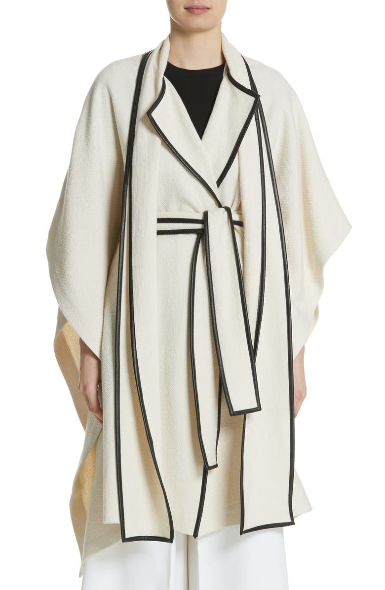 Leather Trim Cotton  Wool Blend Cape with Scarf
