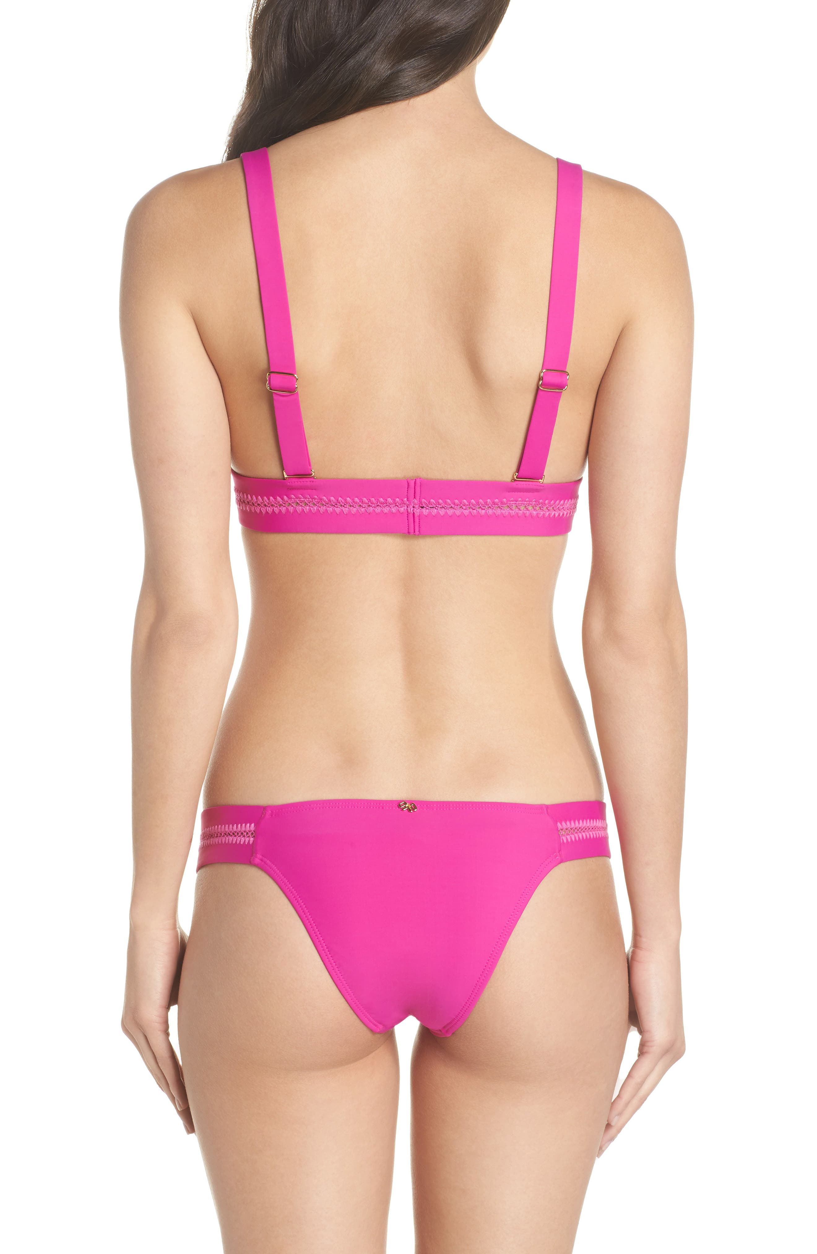 Stitched Elle Halter Bikini Top,                             Alternate thumbnail 3, color,                             Fuchsia