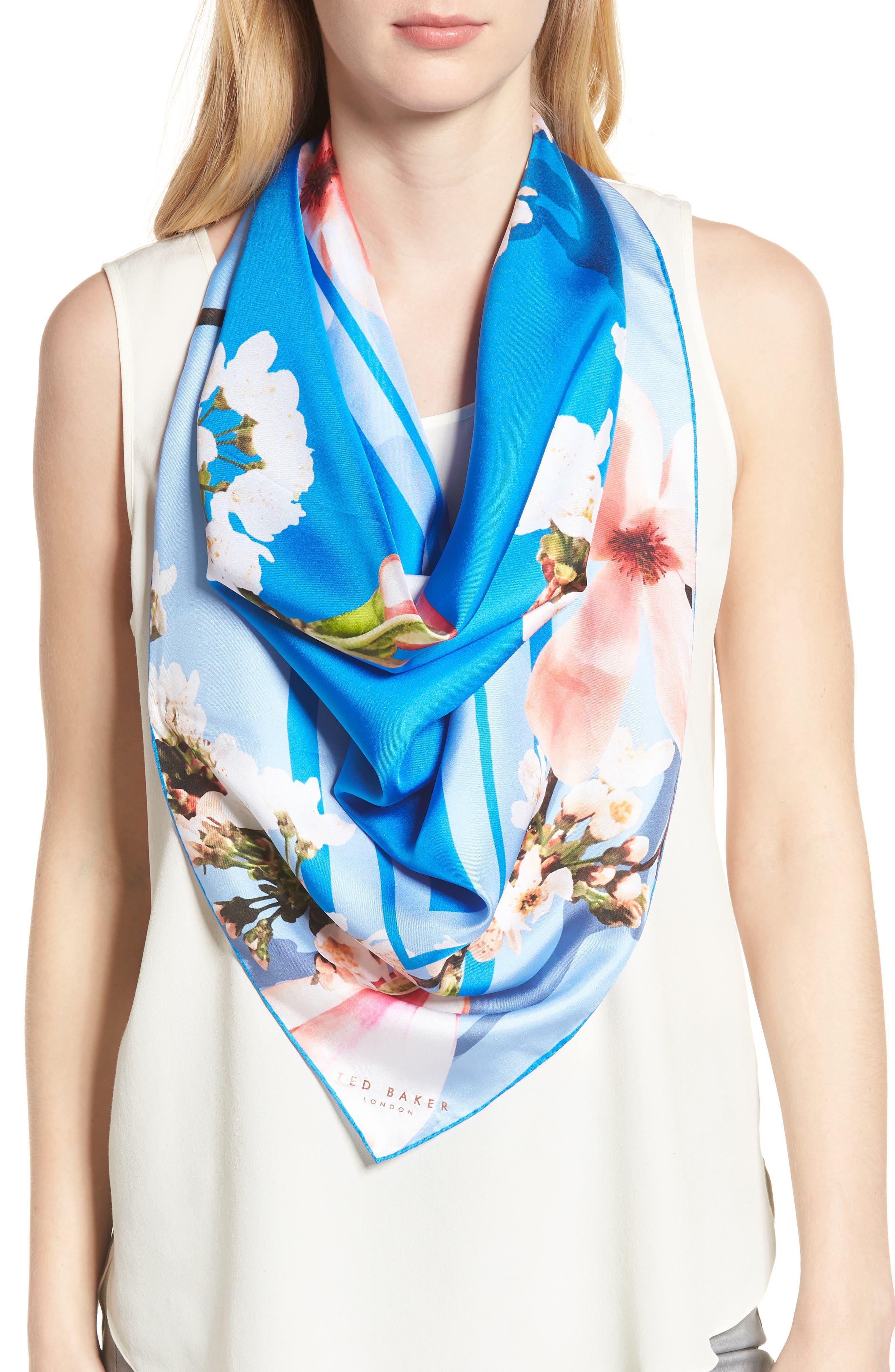 Harmony Square Silk Scarf,                         Main,                         color, Bright Blue