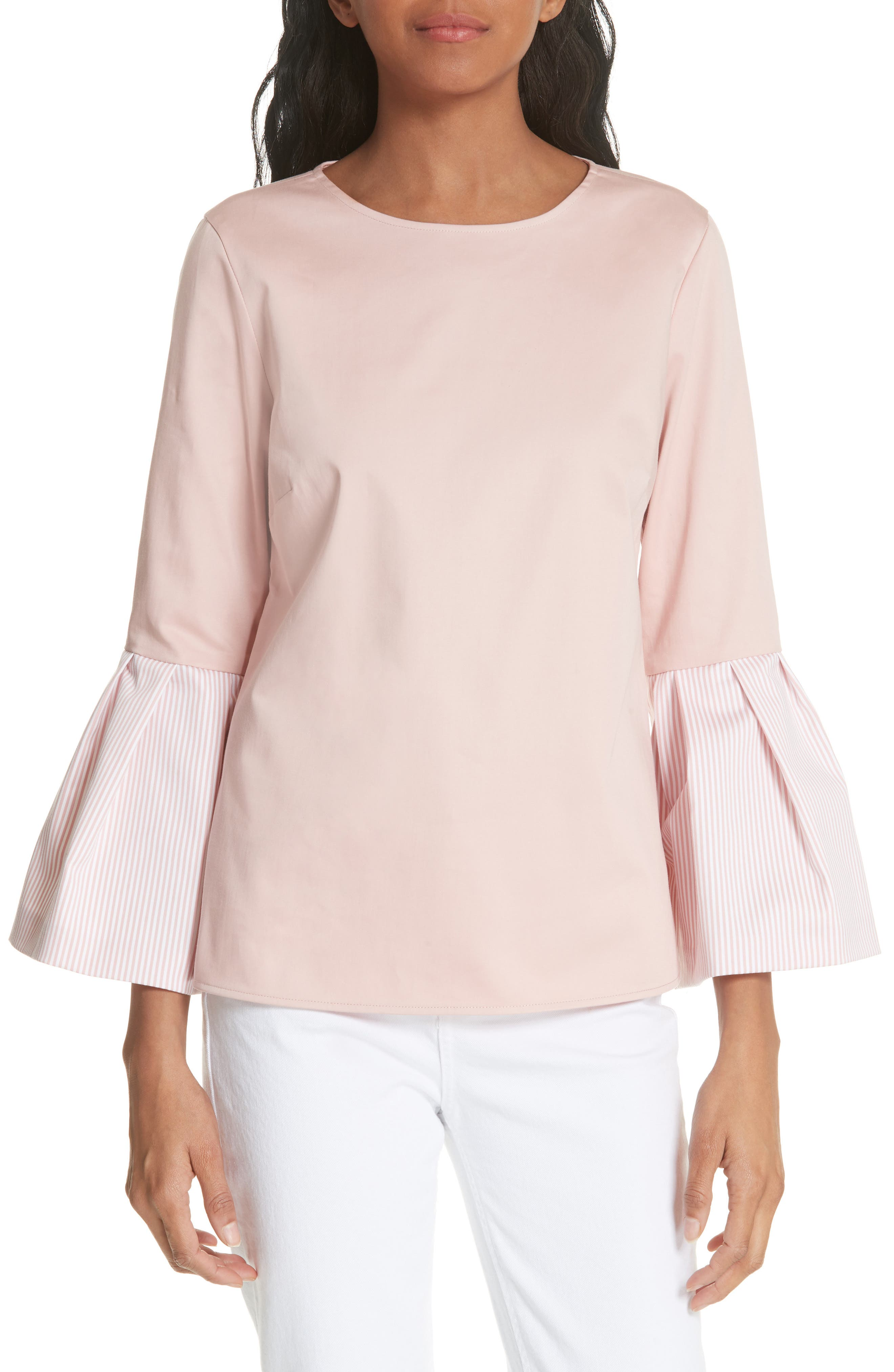 Stripe Bell Sleeve Top,                             Main thumbnail 1, color,                             Dusky Pink
