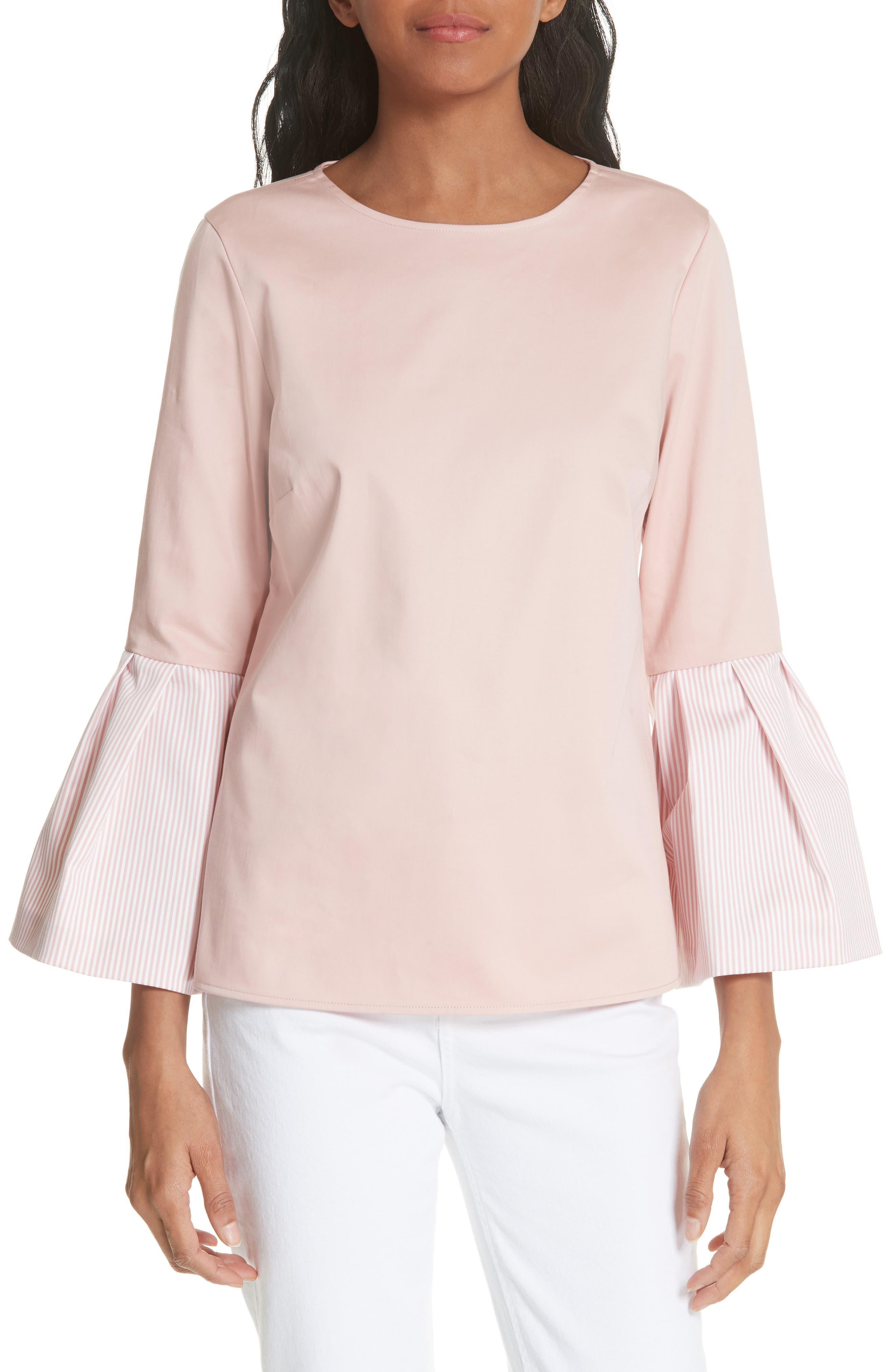 Stripe Bell Sleeve Top,                         Main,                         color, Dusky Pink