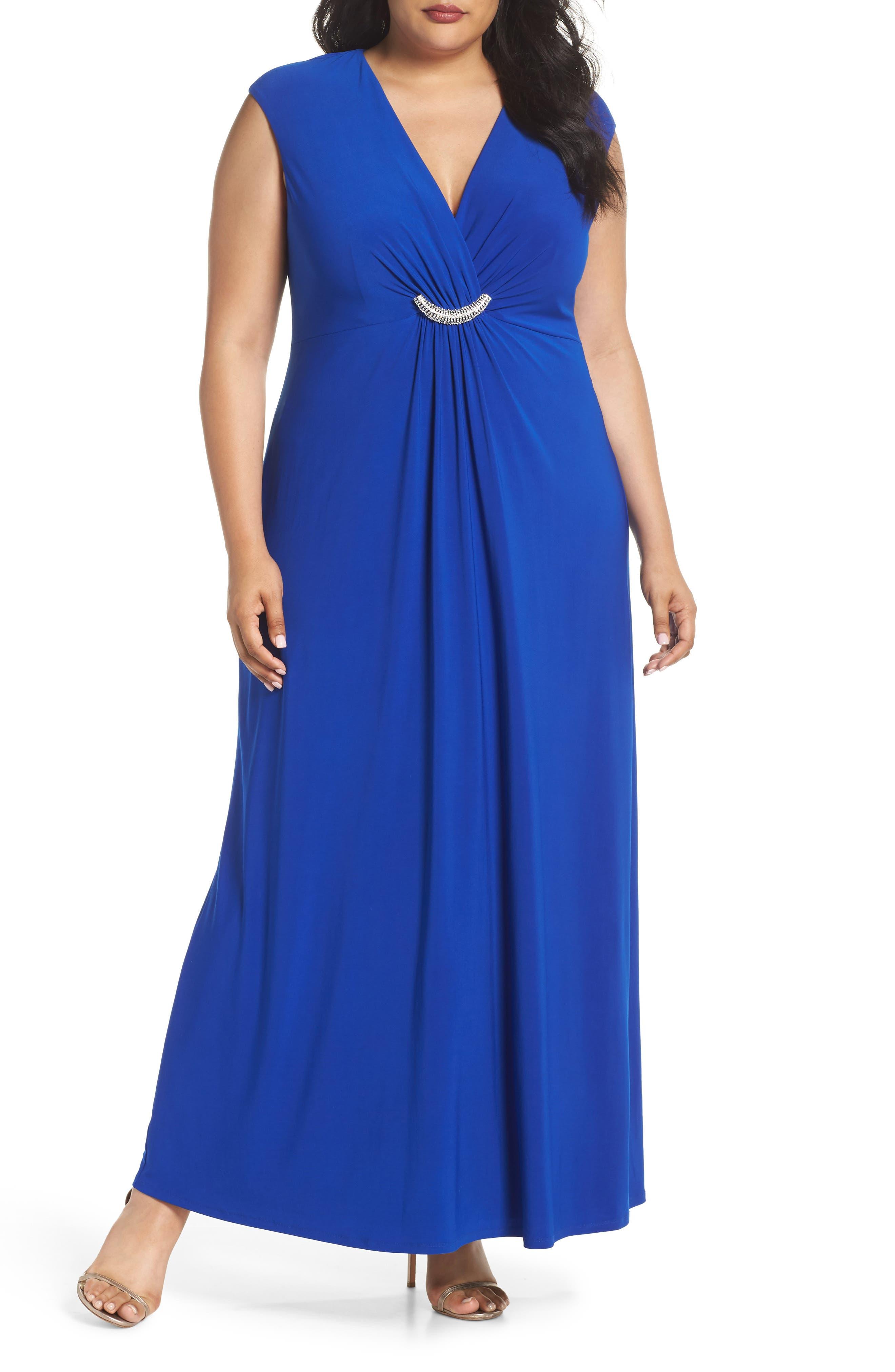 Embellished Surplice Dress,                         Main,                         color, Cobalt