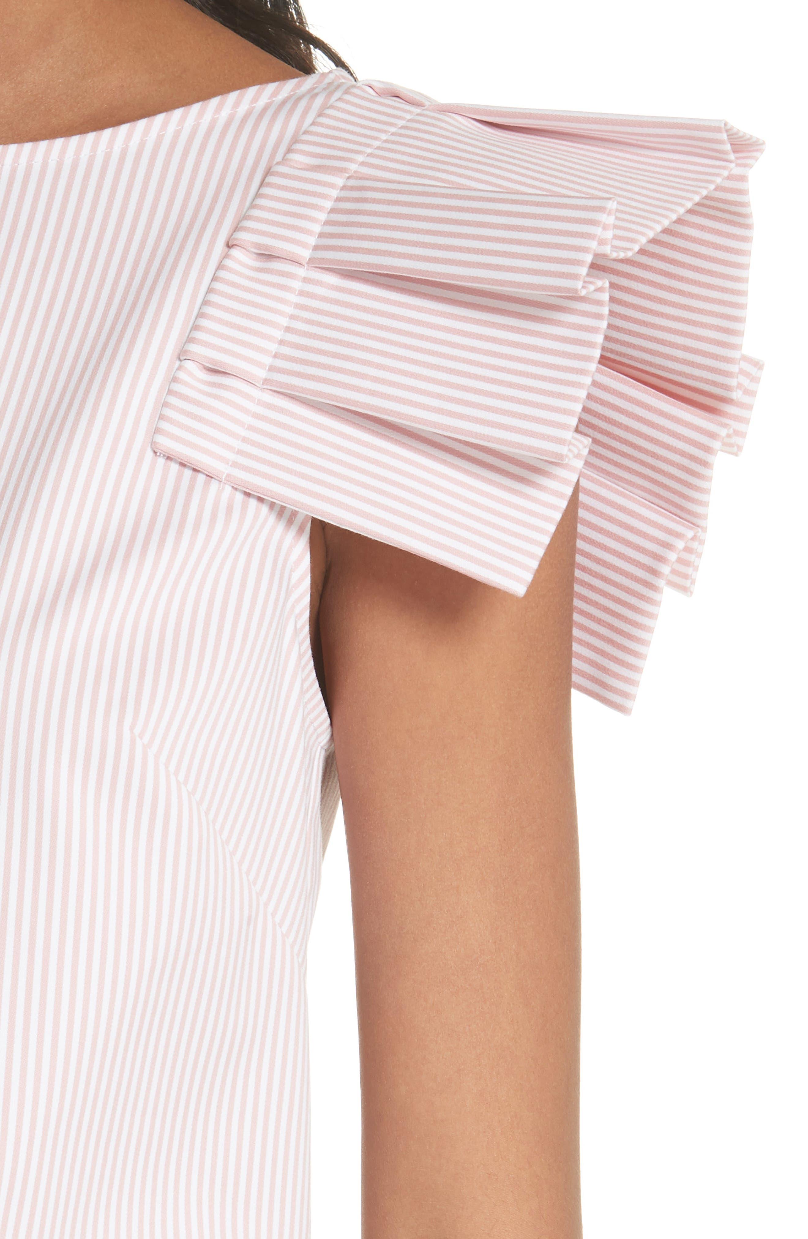 Frill Shoulder Top,                             Alternate thumbnail 4, color,                             Dusky Pink