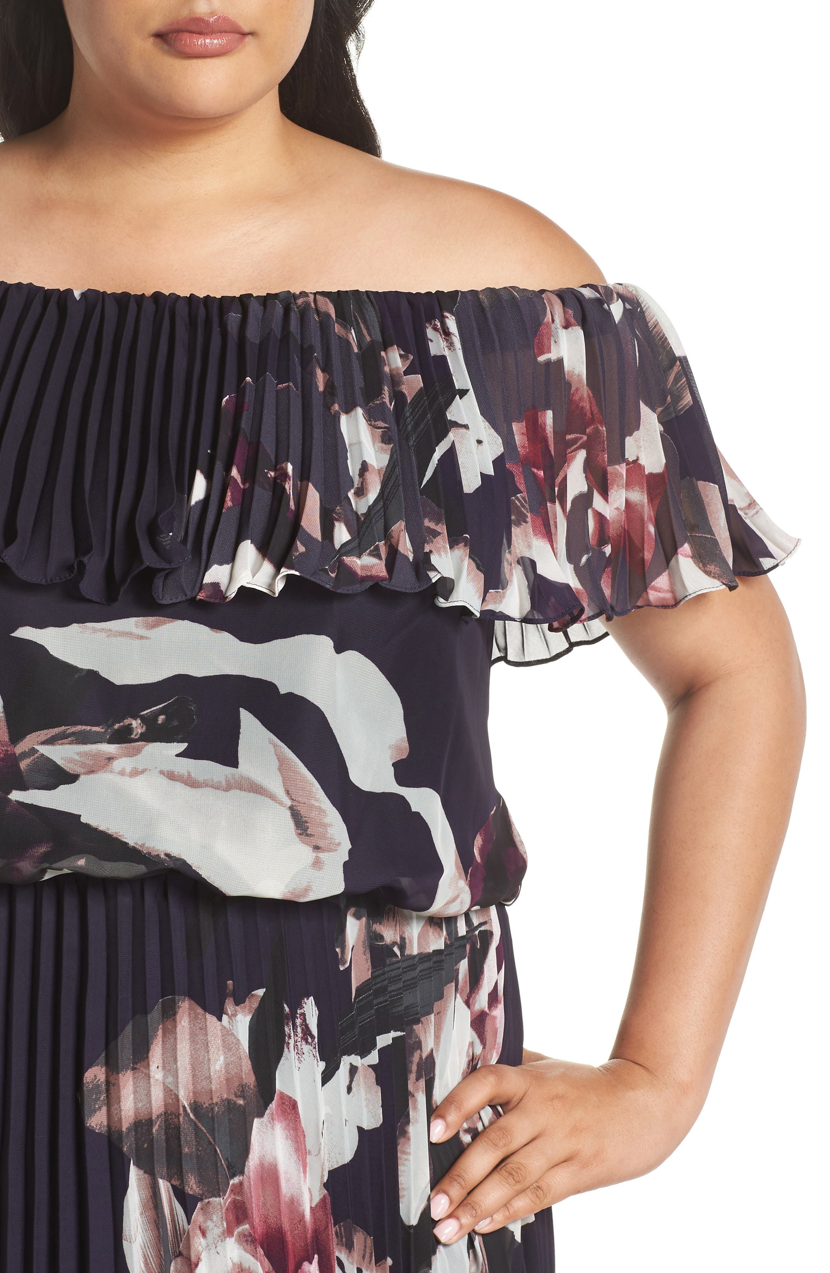 Floral Pleat Off the Shoulder Ruffle Gown,                             Alternate thumbnail 4, color,                             Navy/ Pink