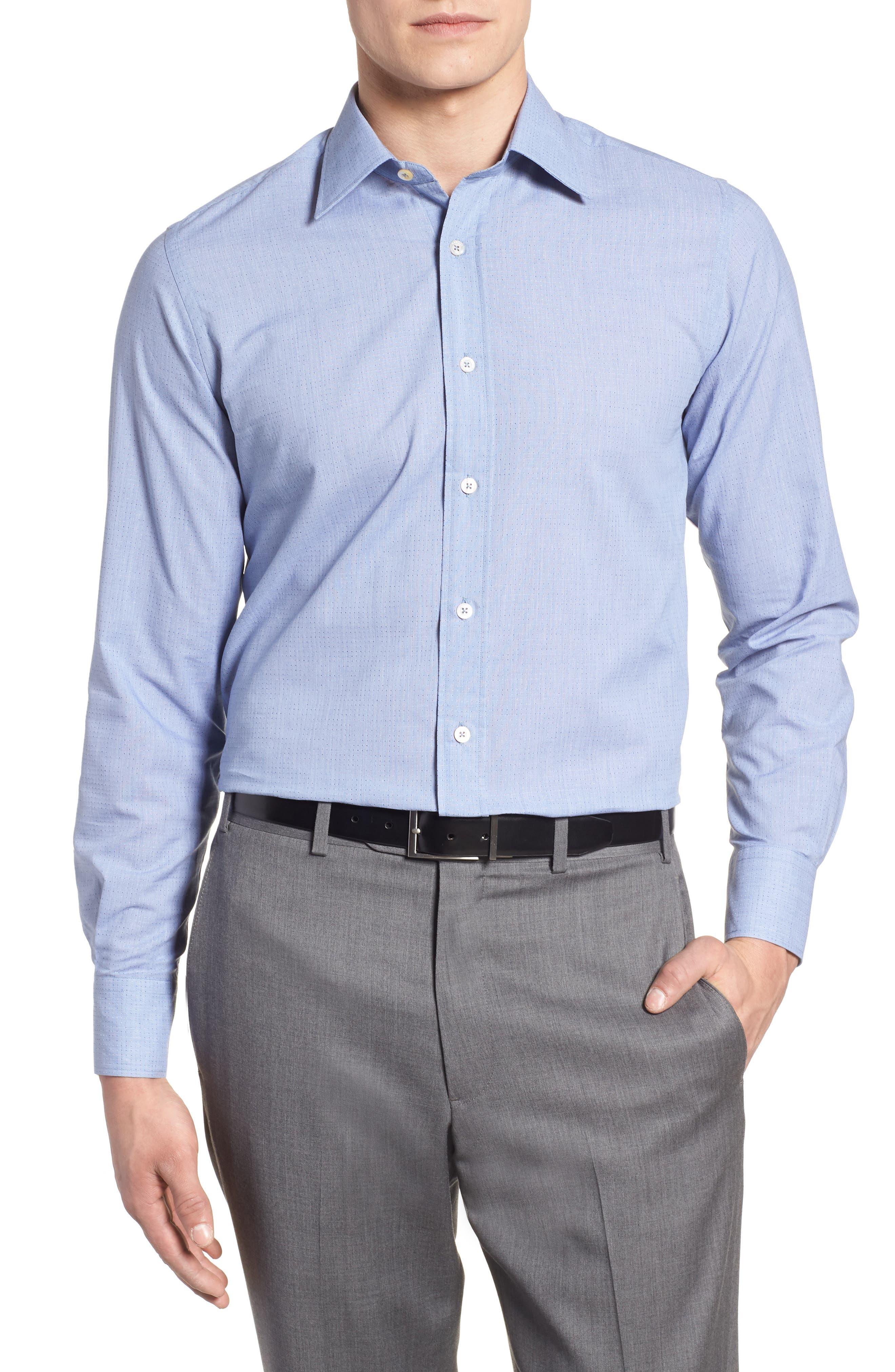 Regular Fit Dot Sport Shirt,                             Main thumbnail 1, color,                             Cadet Blue