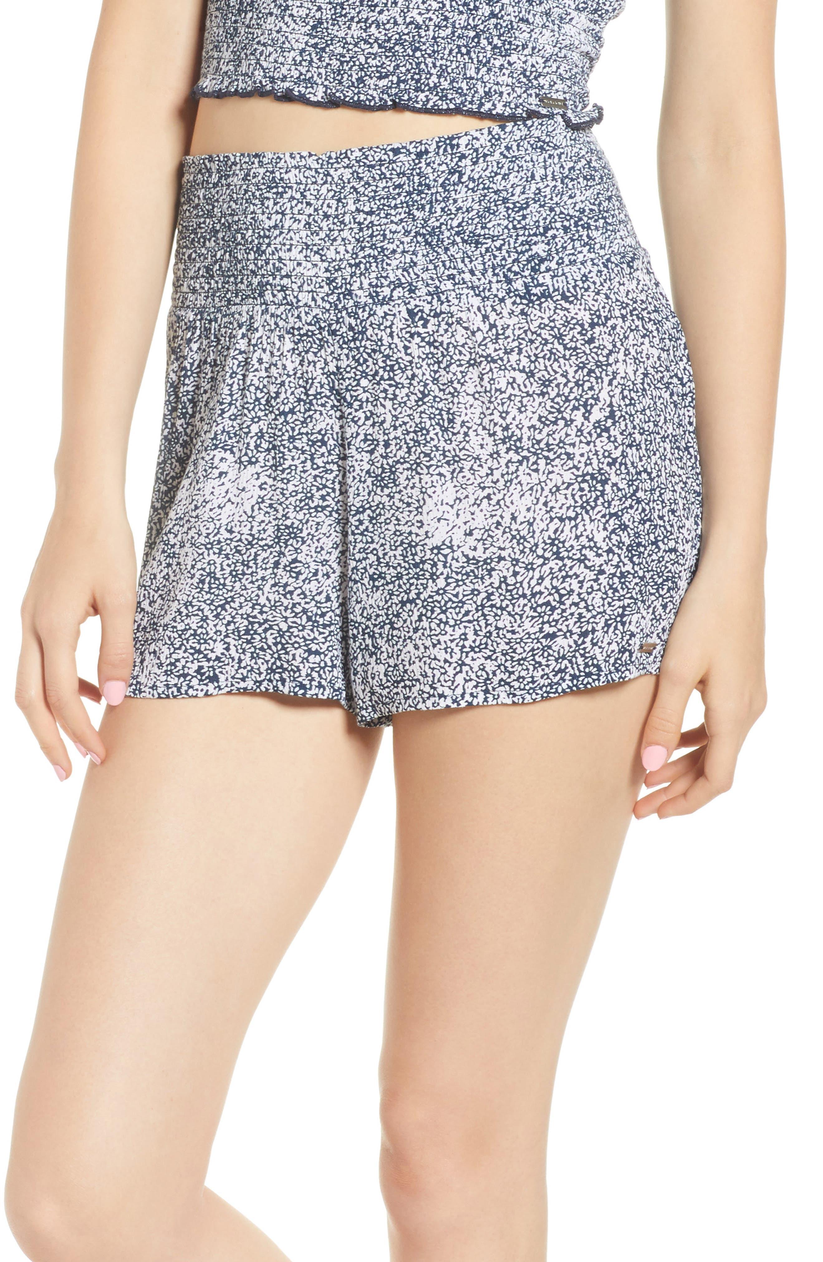 She's So Daisy Smock Waist Shorts,                             Main thumbnail 1, color,                             Navy