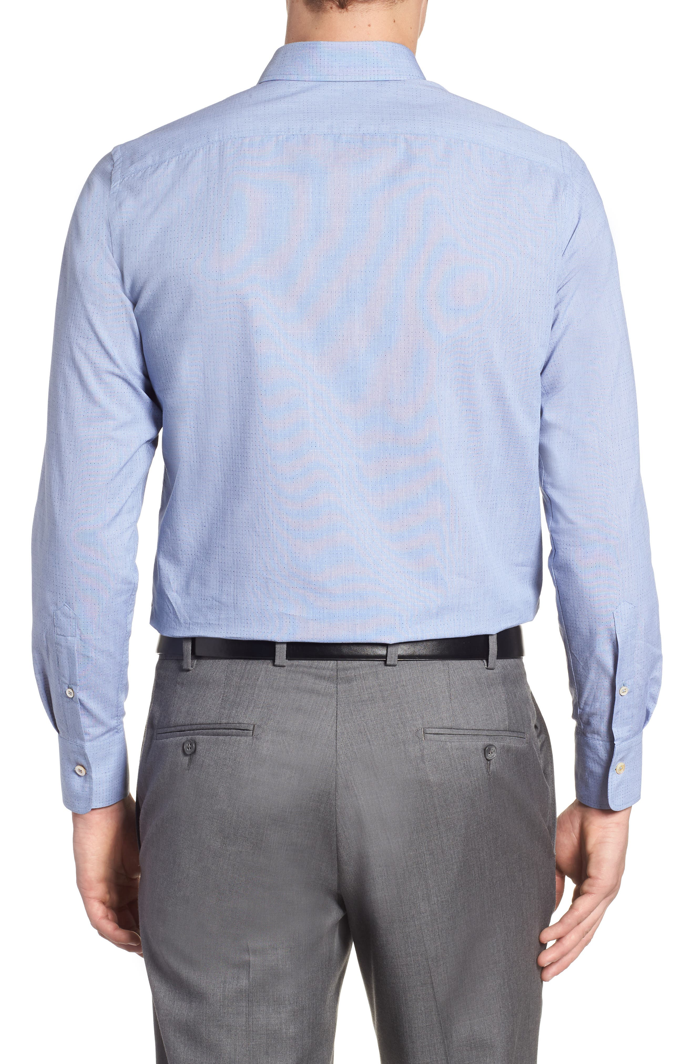 Regular Fit Dot Sport Shirt,                             Alternate thumbnail 3, color,                             Cadet Blue