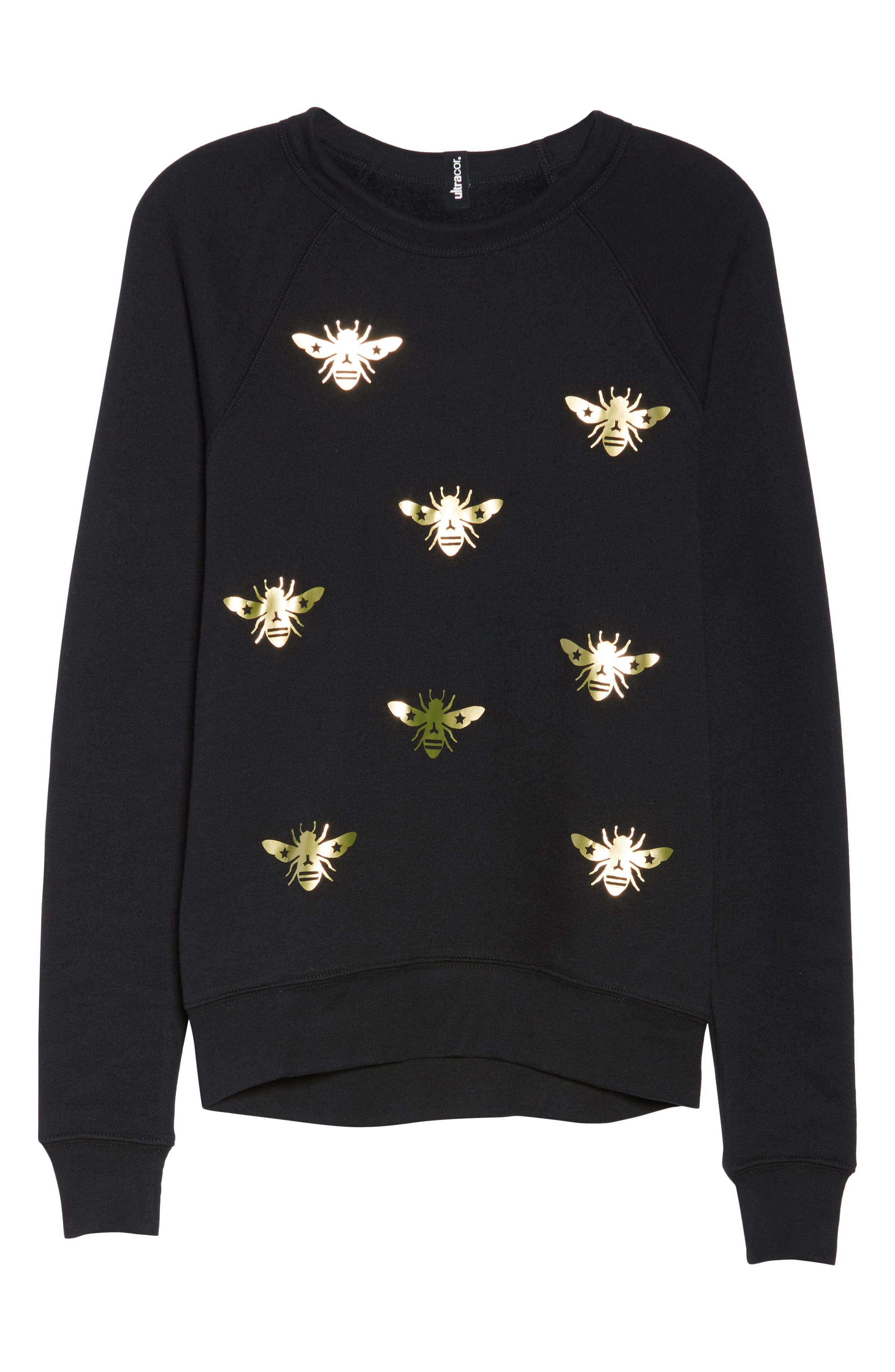 Bee Sweatshirt,                             Alternate thumbnail 6, color,                             Nero/ Gold