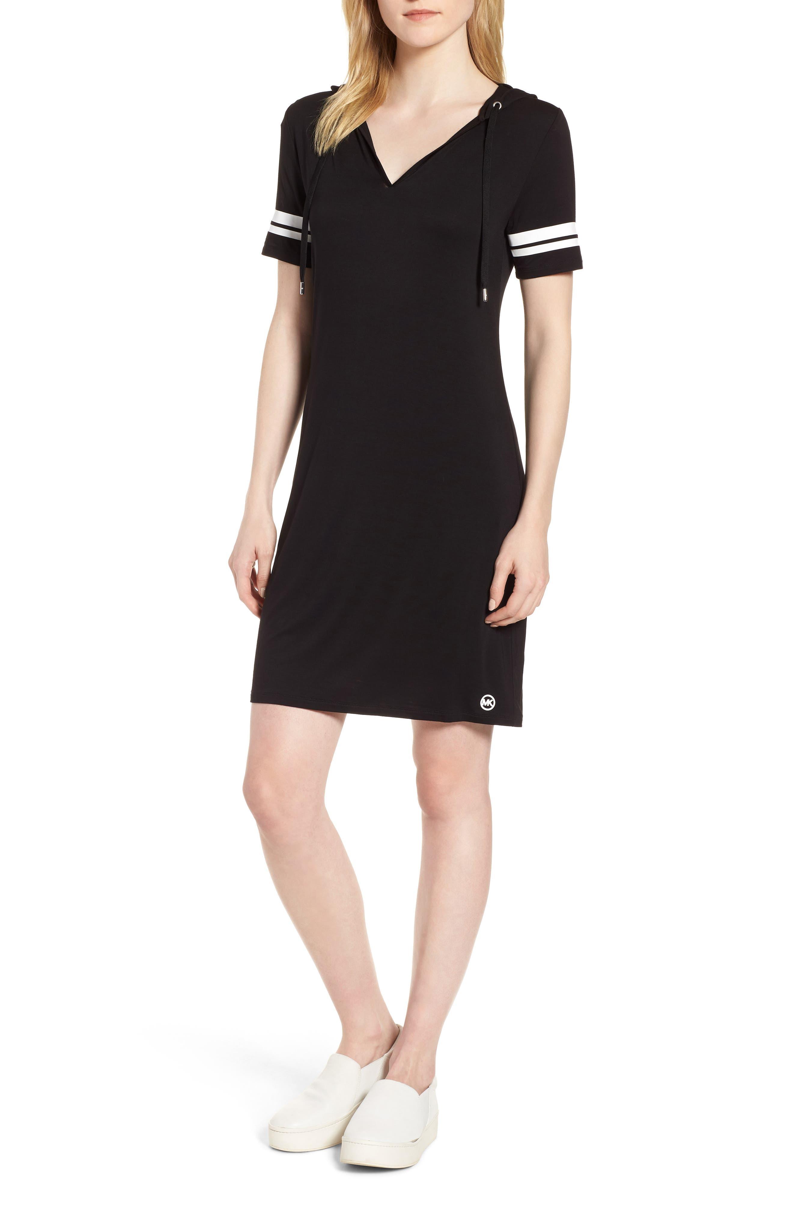 MICHAEL Michal Kors Stripe Sleeve Hoodie Dress,                             Main thumbnail 1, color,                             Black