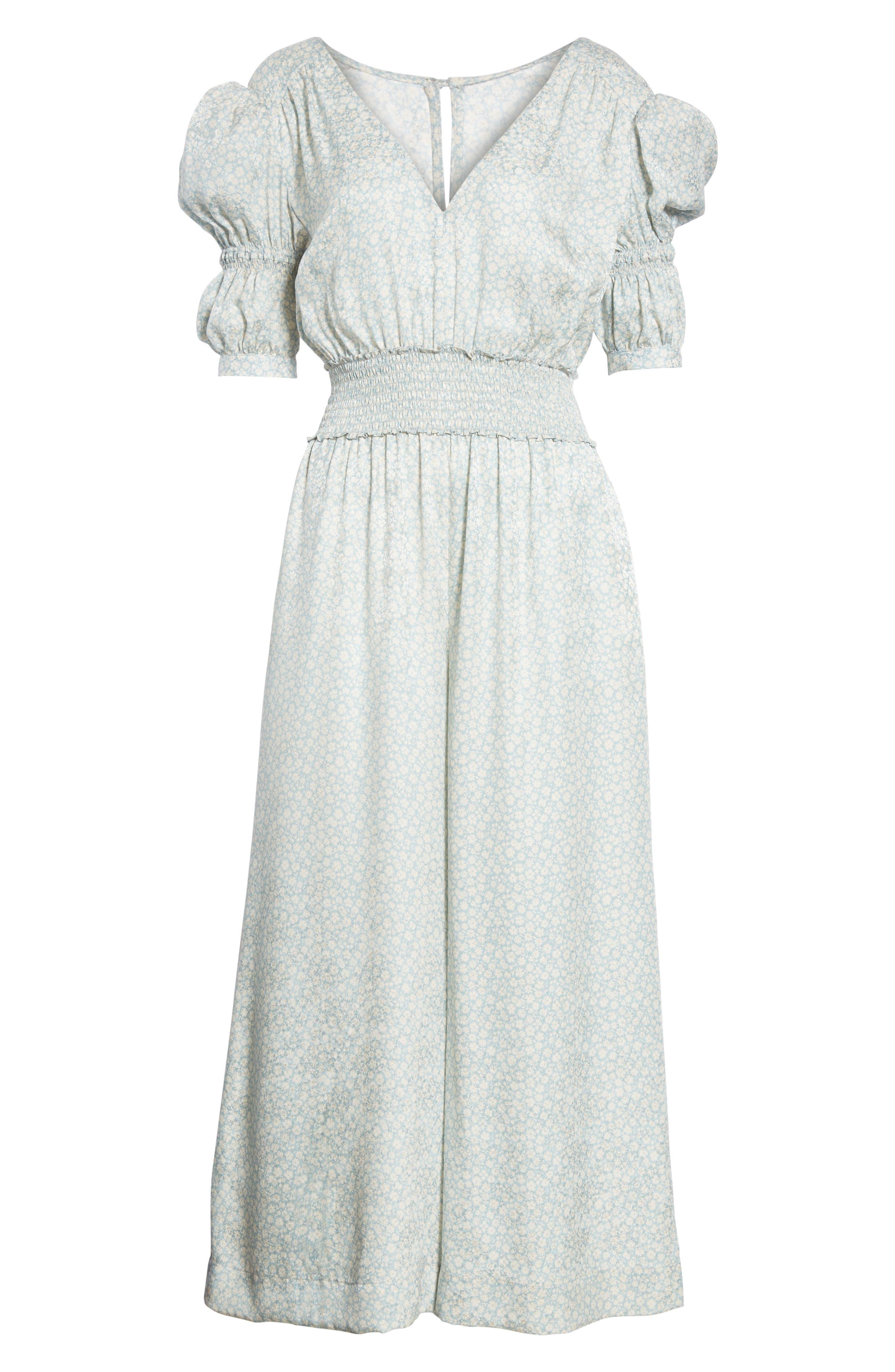 Lauren Puff Sleeve Floral Silk Jumpsuit,                             Alternate thumbnail 6, color,                             Sage Combo