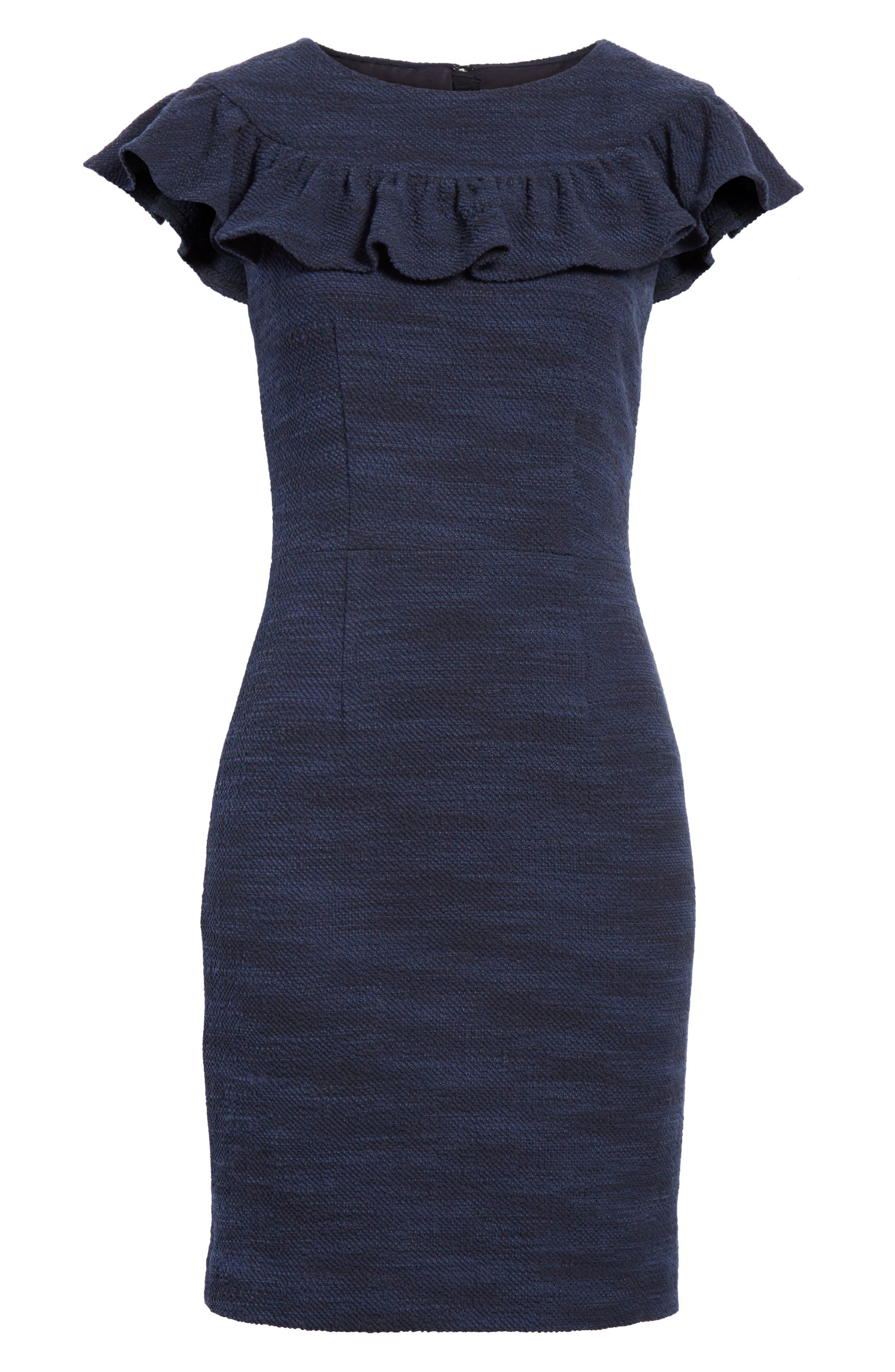 Ruffle Tweed Dress,                             Alternate thumbnail 6, color,                             Navy Combo