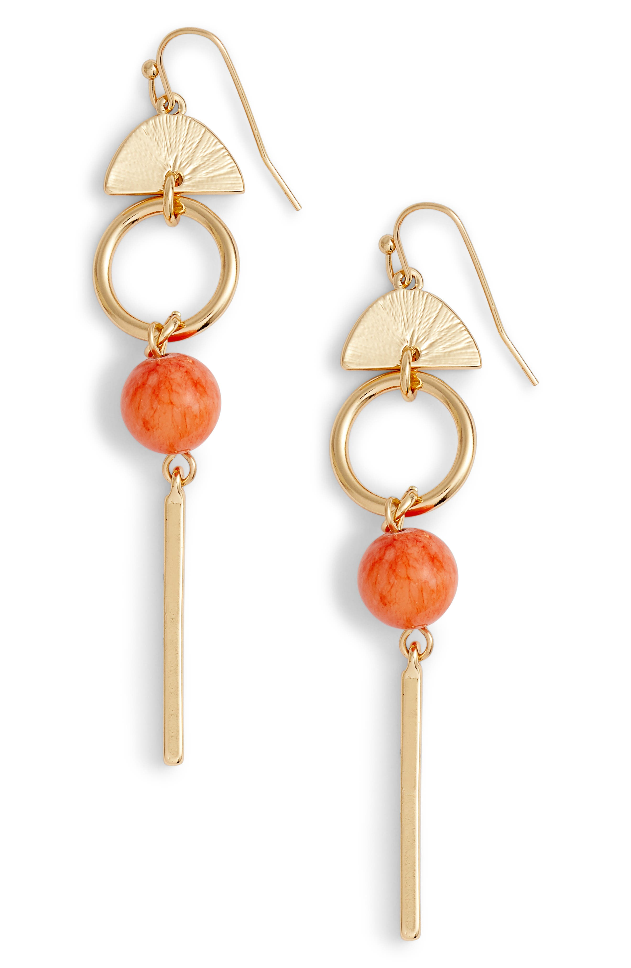 Geo Linear Drop Earrings,                             Main thumbnail 1, color,                             Coral- Gold