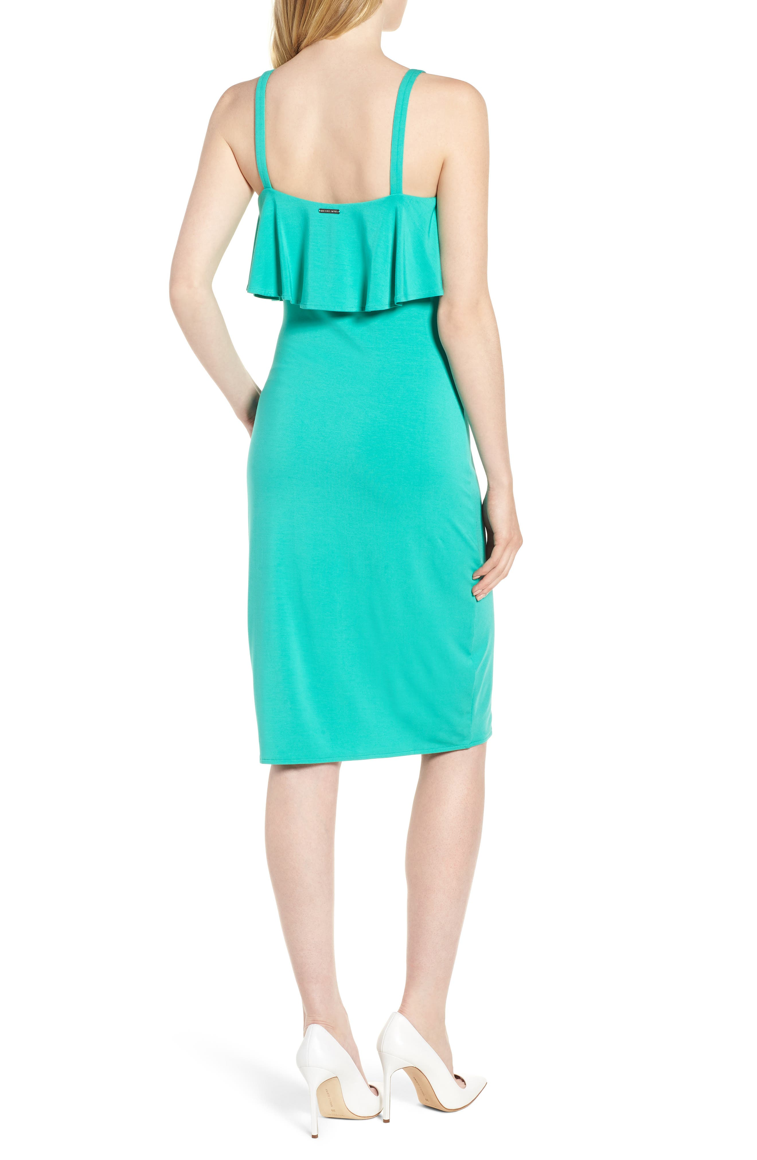 Flounce Front Dress,                             Alternate thumbnail 2, color,                             Aqua