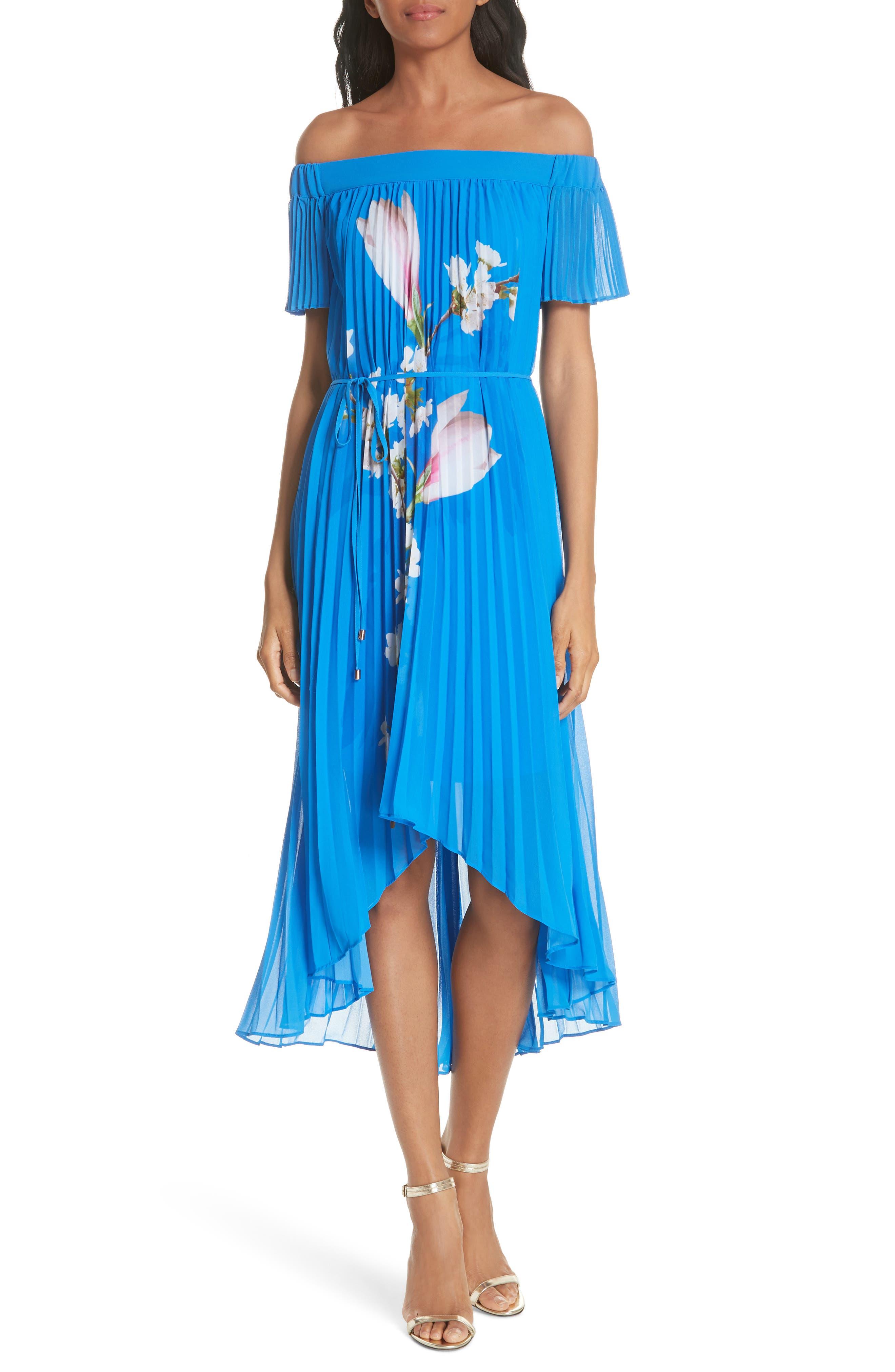 Harmony Pleat High/Low Dress,                             Main thumbnail 1, color,                             Bright Blue