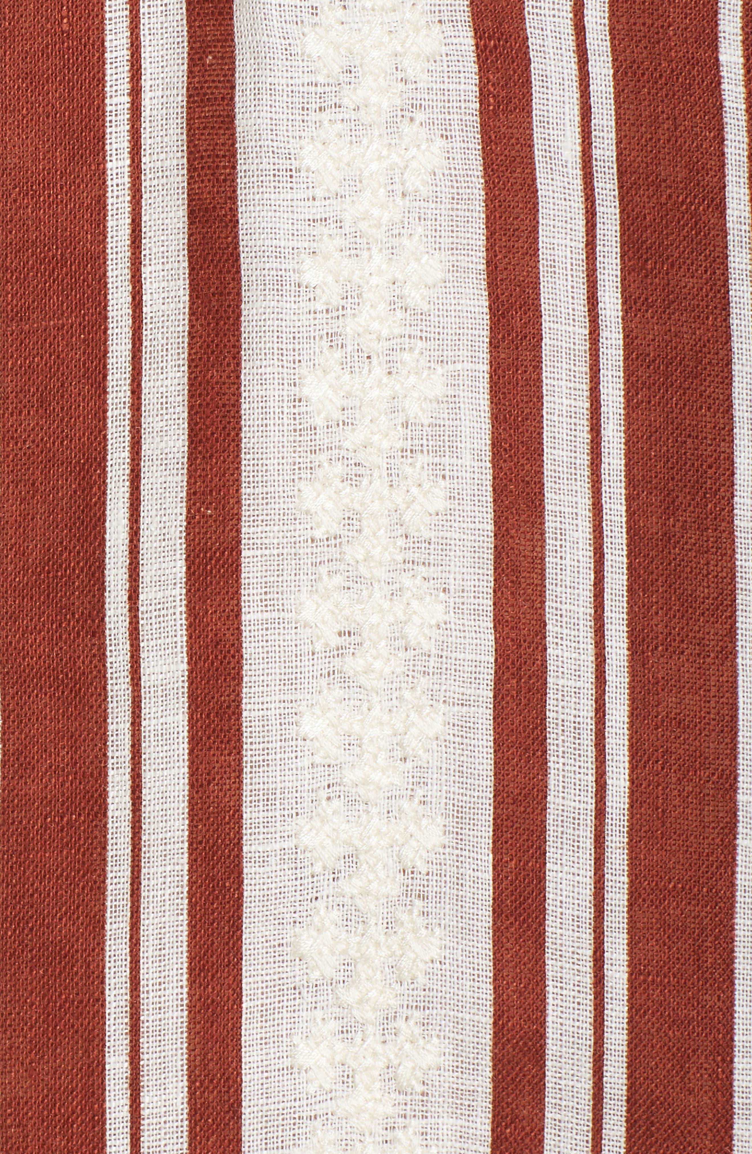 Alcott Beach Linen Cover-Up Caftan,                             Alternate thumbnail 5, color,                             New Ivory / Desert Stripe