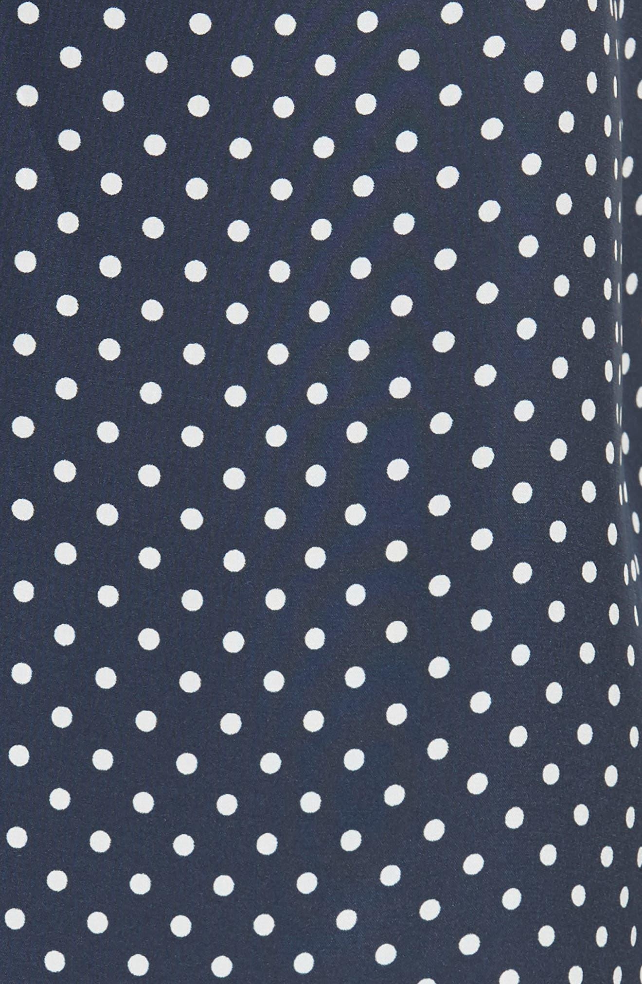 Polka Dot Silk Camisole,                             Alternate thumbnail 5, color,                             Midnight/ White