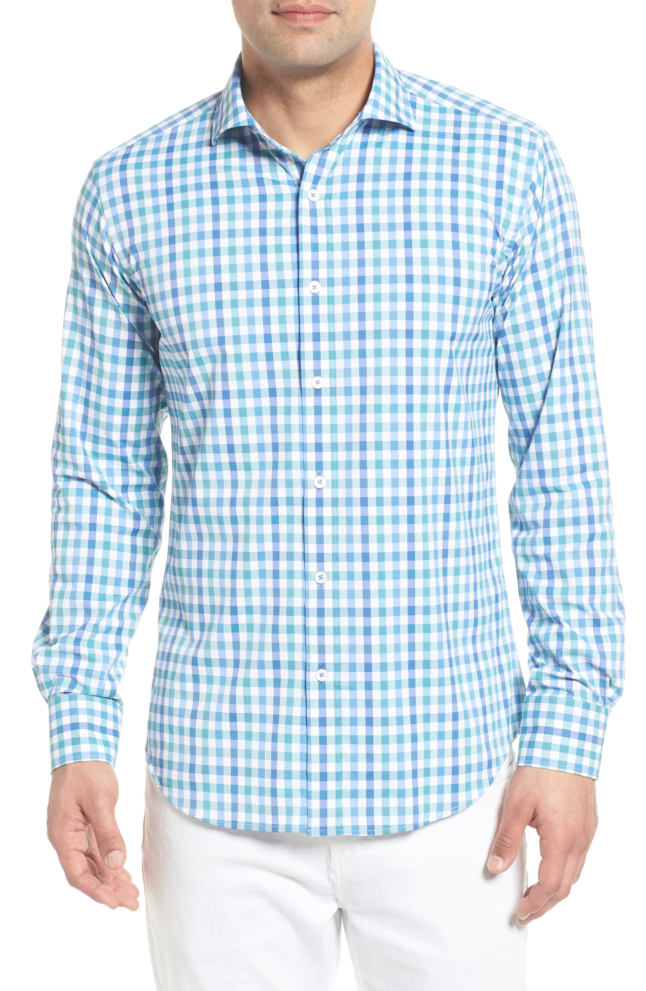 Shaped Fit Check Performance Sport Shirt,                         Main,                         color, Paradise
