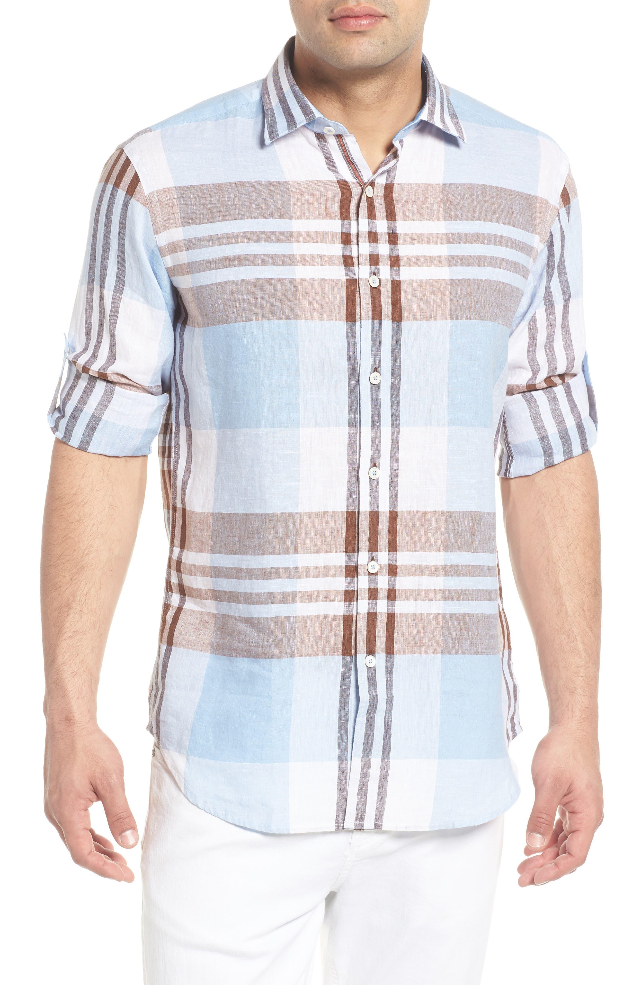 Shaped Fit Plaid Linen Blend Sport Shirt,                             Main thumbnail 1, color,                             Mocha