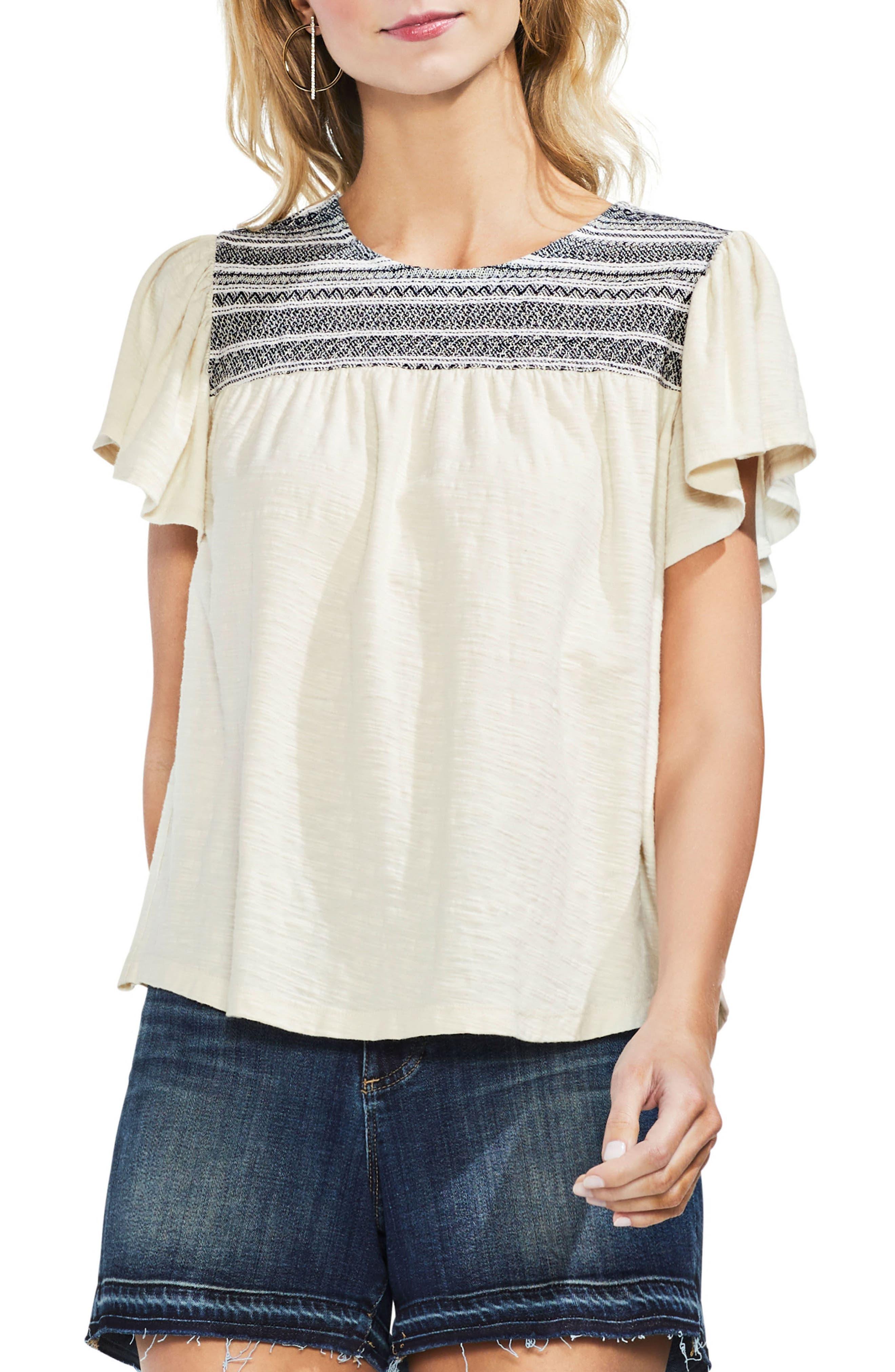 Short Sleeve Peasant Top,                         Main,                         color, Ecru Cloud
