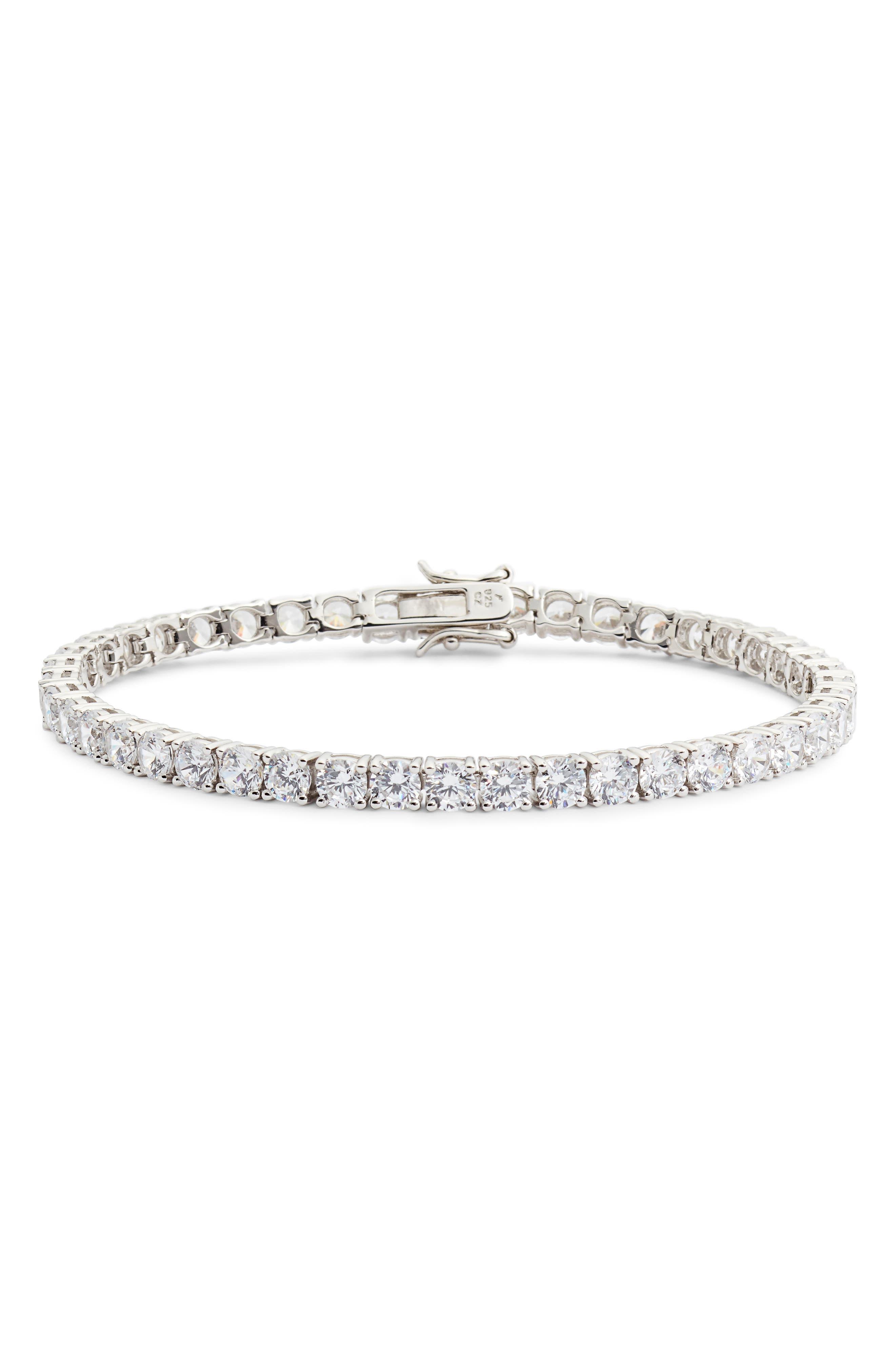 Cubic Zirconia Tennis Bracelet,                         Main,                         color, Platinum