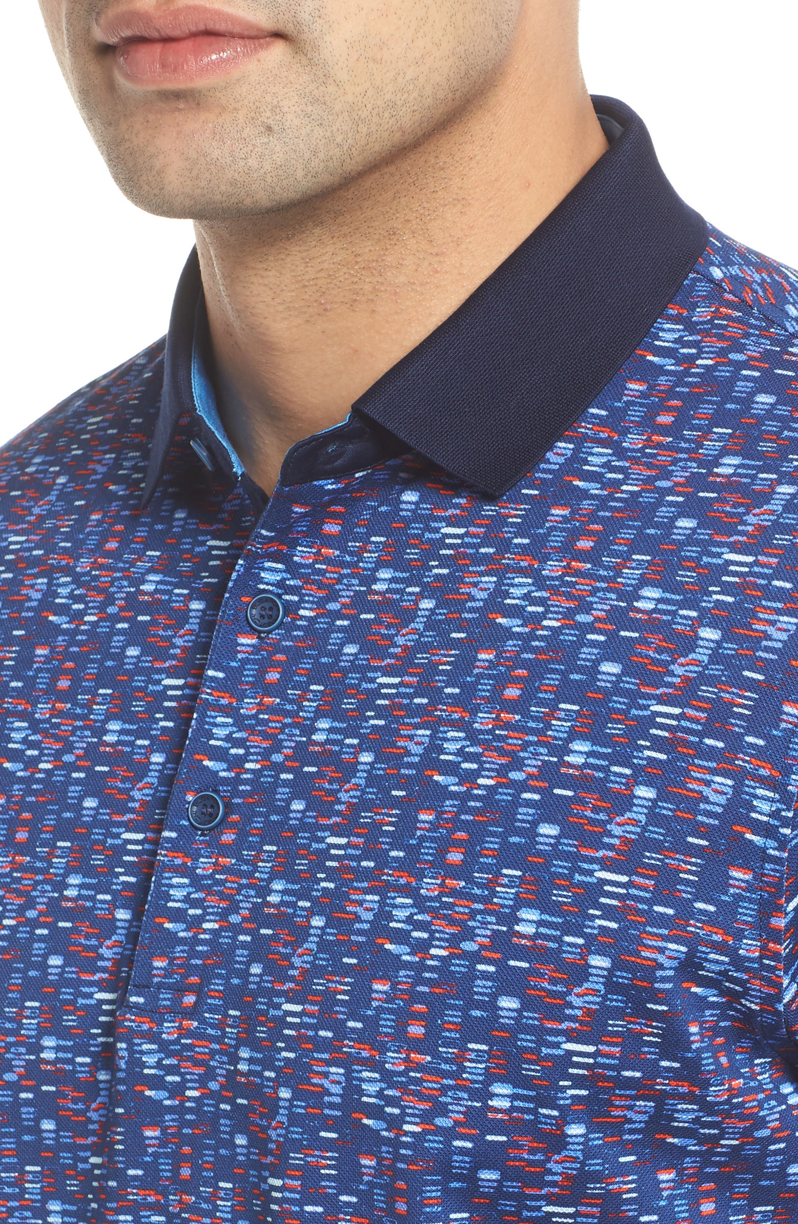 Tile Print Piqué Polo,                             Alternate thumbnail 4, color,                             Navy