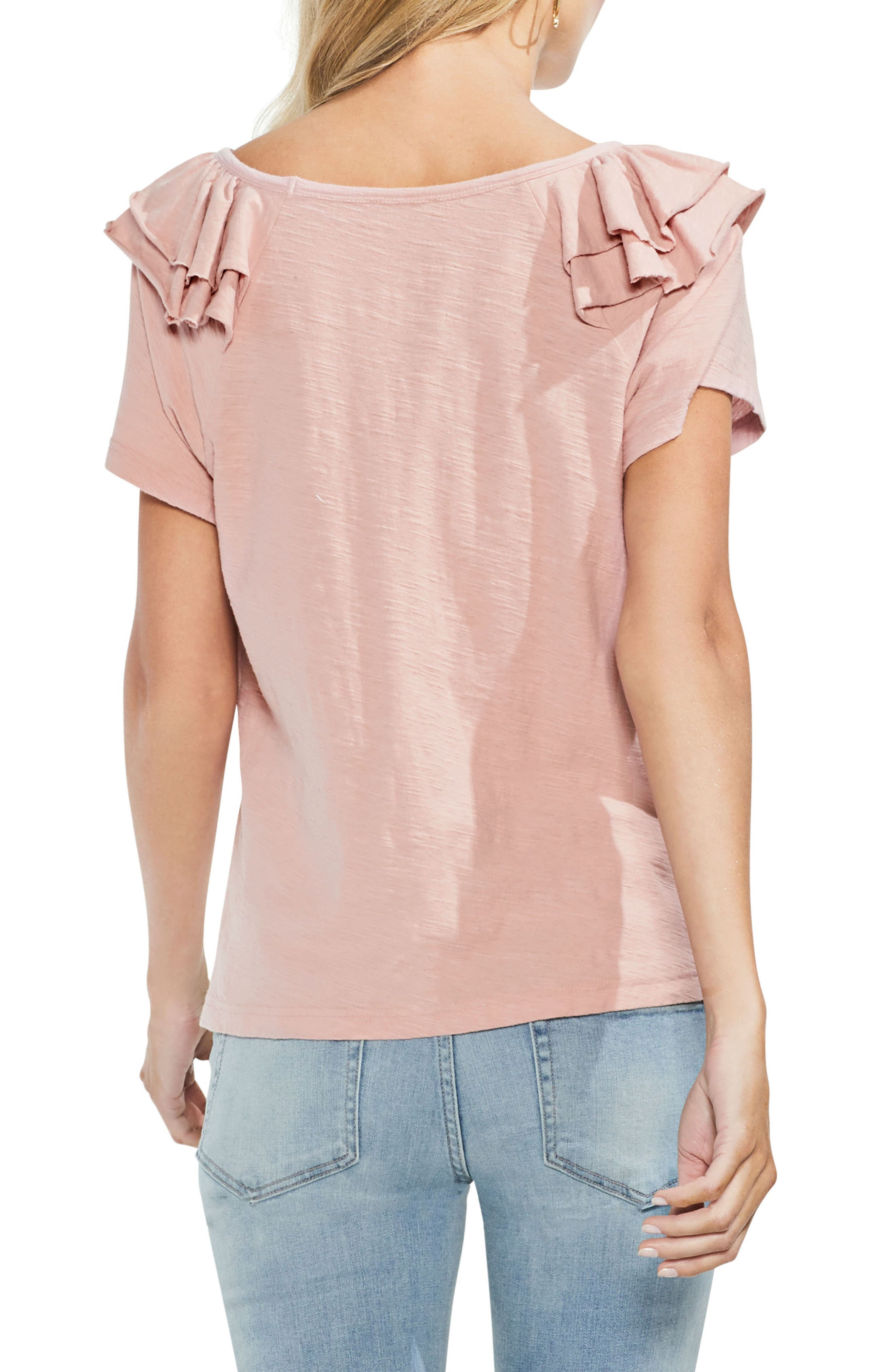 Shoulder Ruffle Tee,                             Alternate thumbnail 2, color,                             Pink Fawn