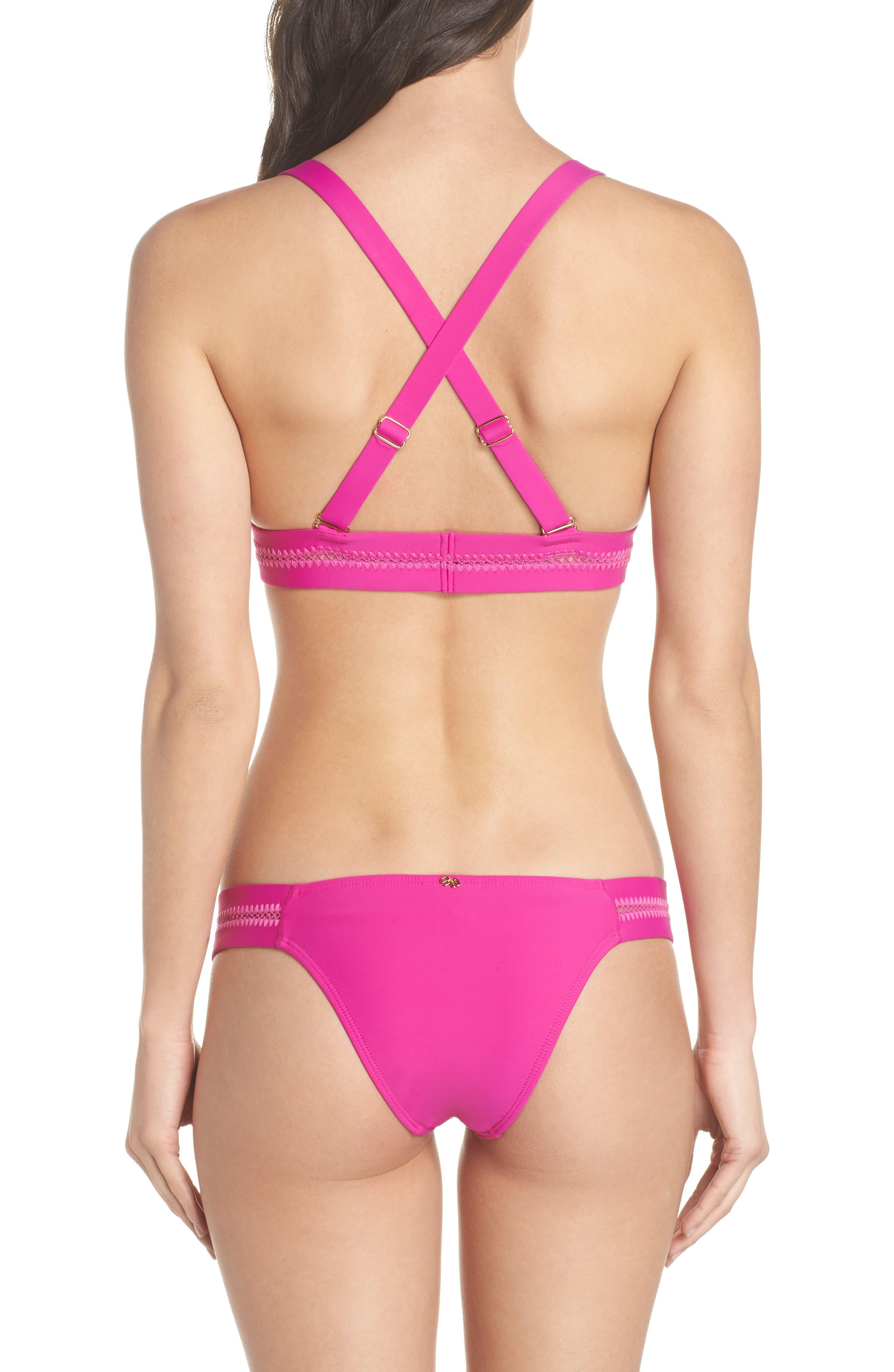 Stitched Elle Halter Bikini Top,                             Alternate thumbnail 9, color,                             Fuchsia