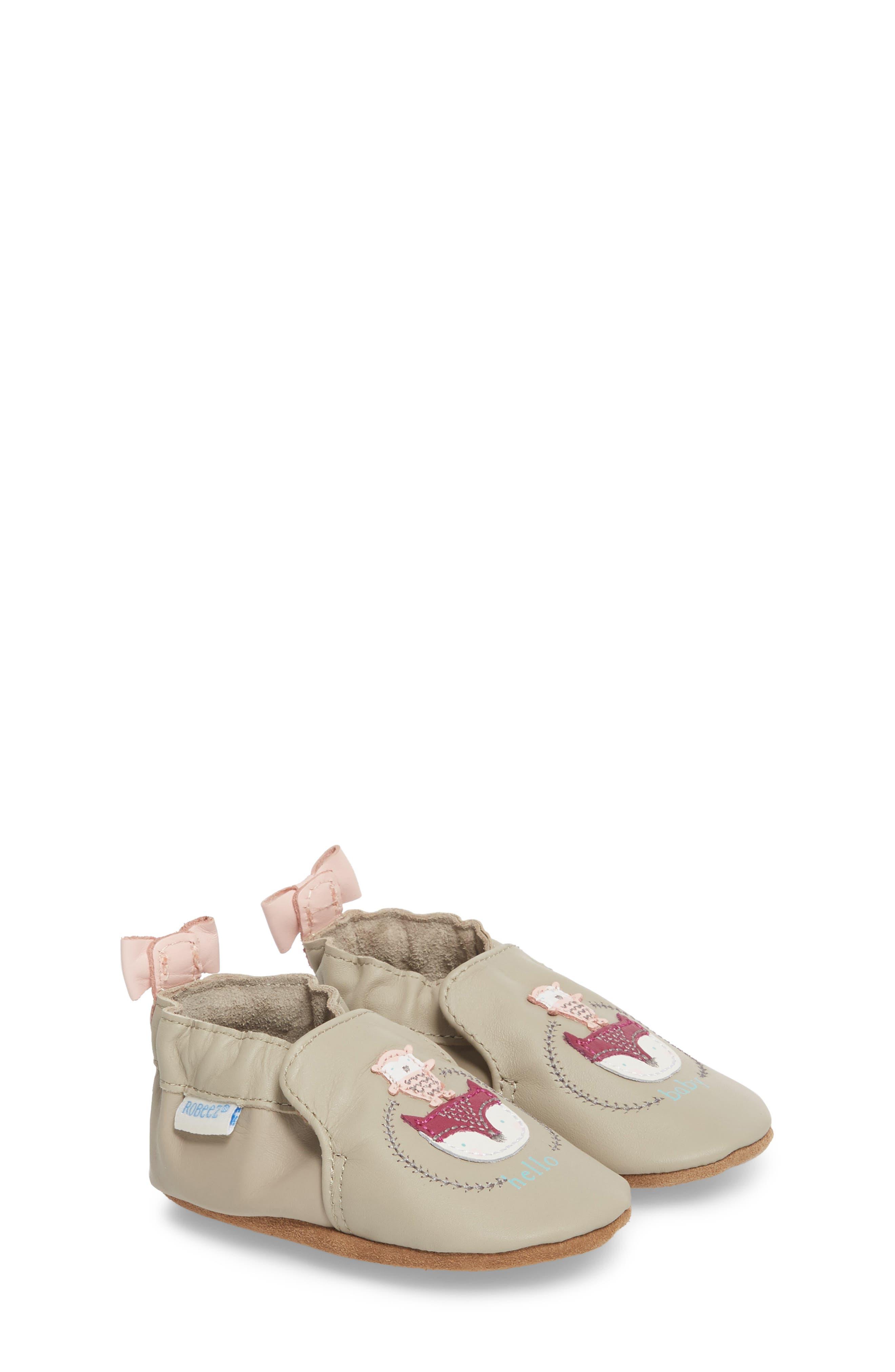 Hello Baby Friends Moccasin Crib Shoe,                             Main thumbnail 1, color,                             Light Grey