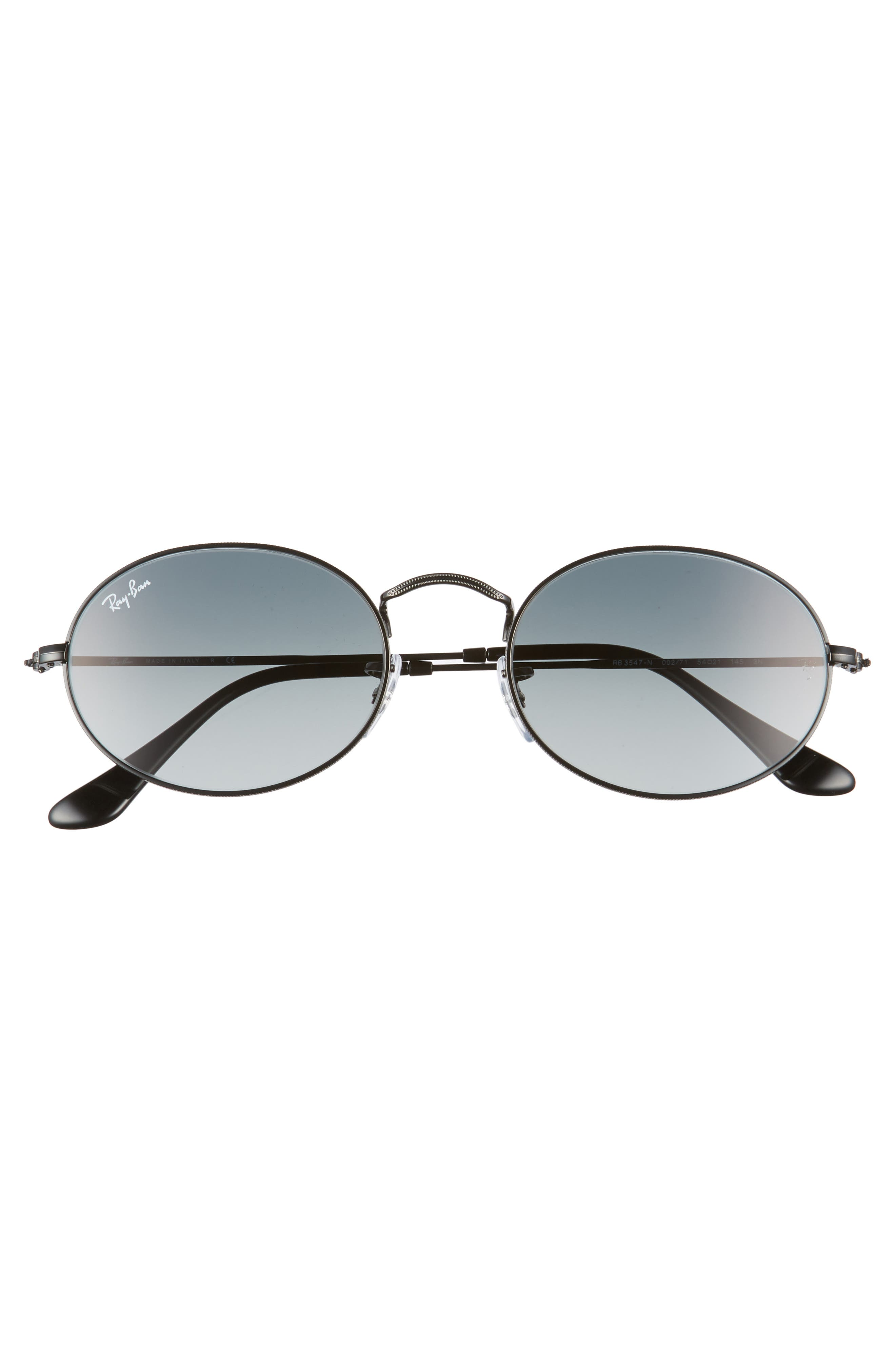 54mm Oval Sunglasses,                             Alternate thumbnail 3, color,                             Black