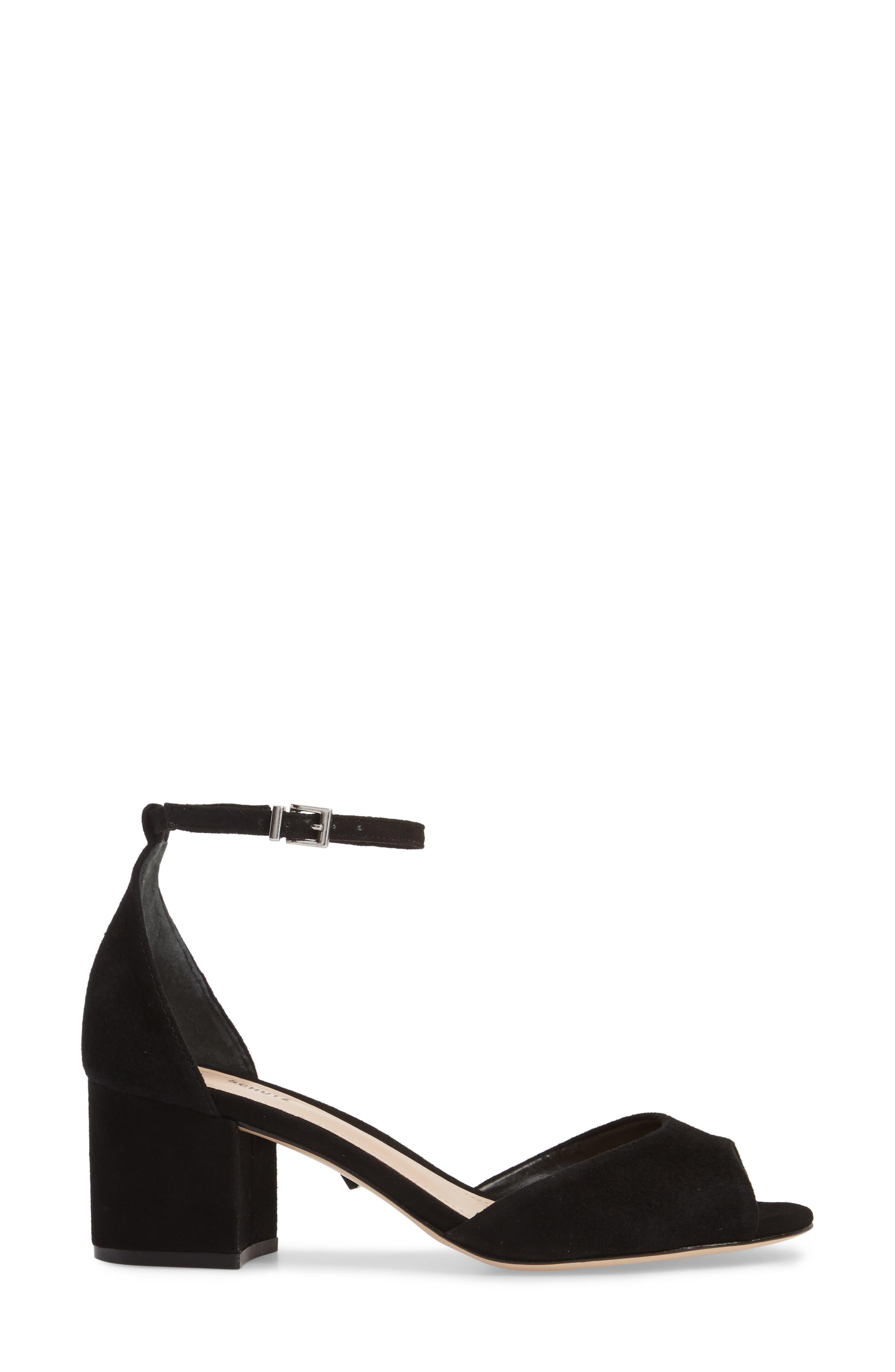 Roama Block Heel Sandal,                             Alternate thumbnail 3, color,                             Black Suede