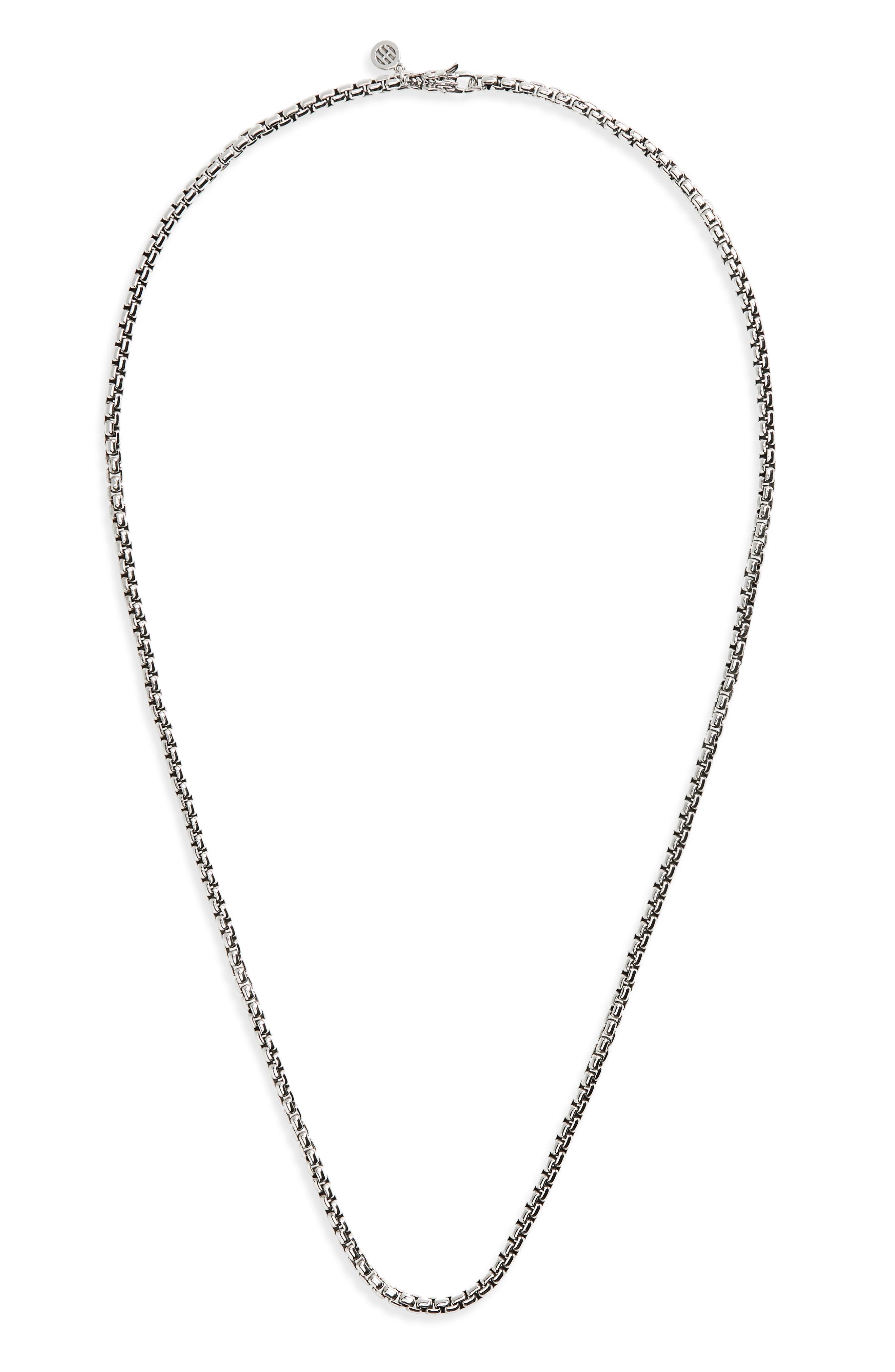 Naga Box Chain Necklace,                         Main,                         color, Silver