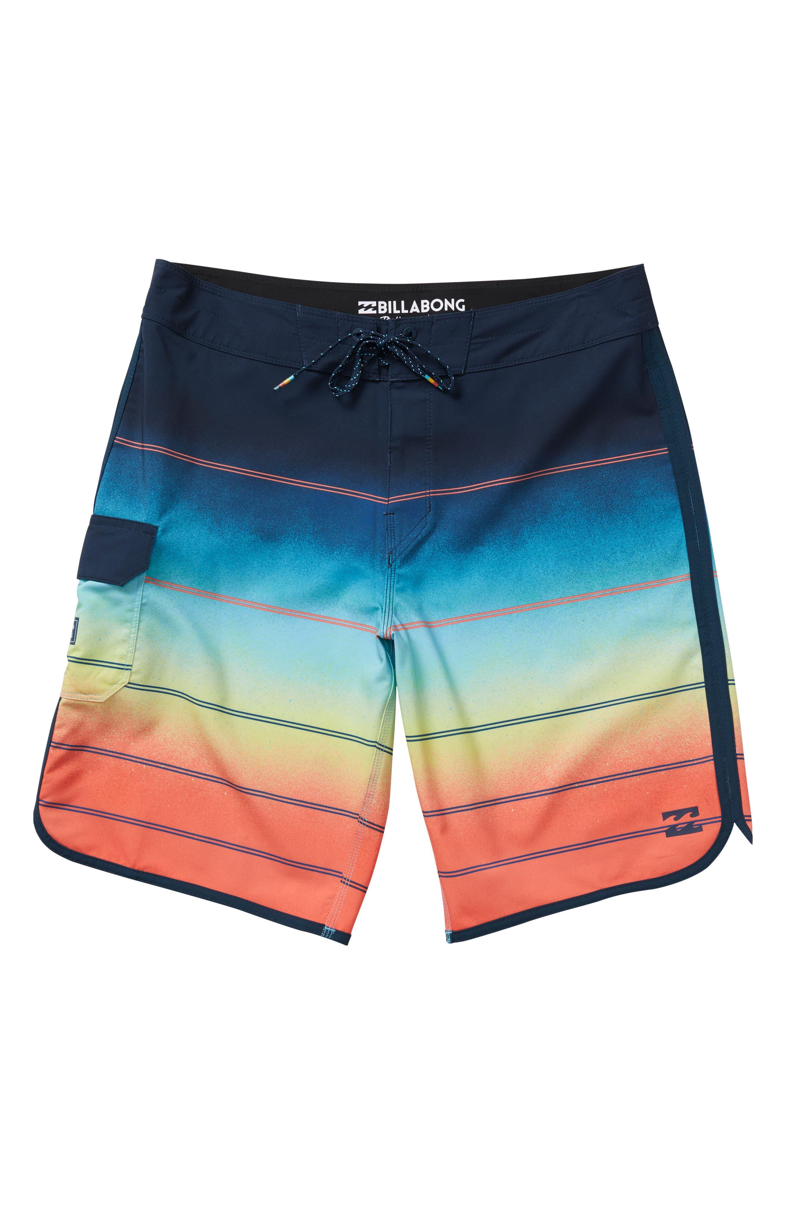 73 X Stripe Board Shorts,                         Main,                         color, Orange