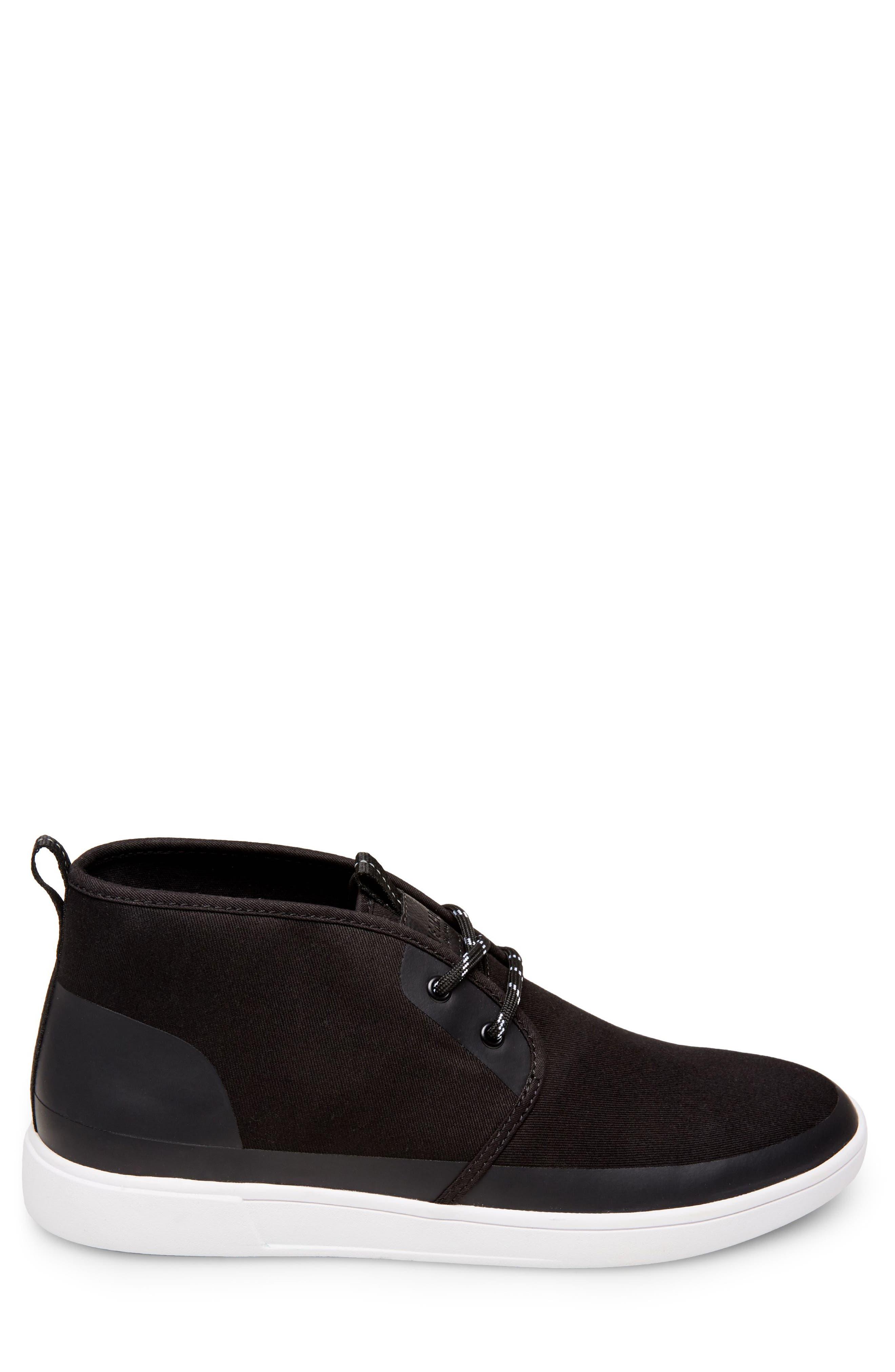 Franklyn Chukka Sneaker,                             Alternate thumbnail 3, color,                             Black Fabric