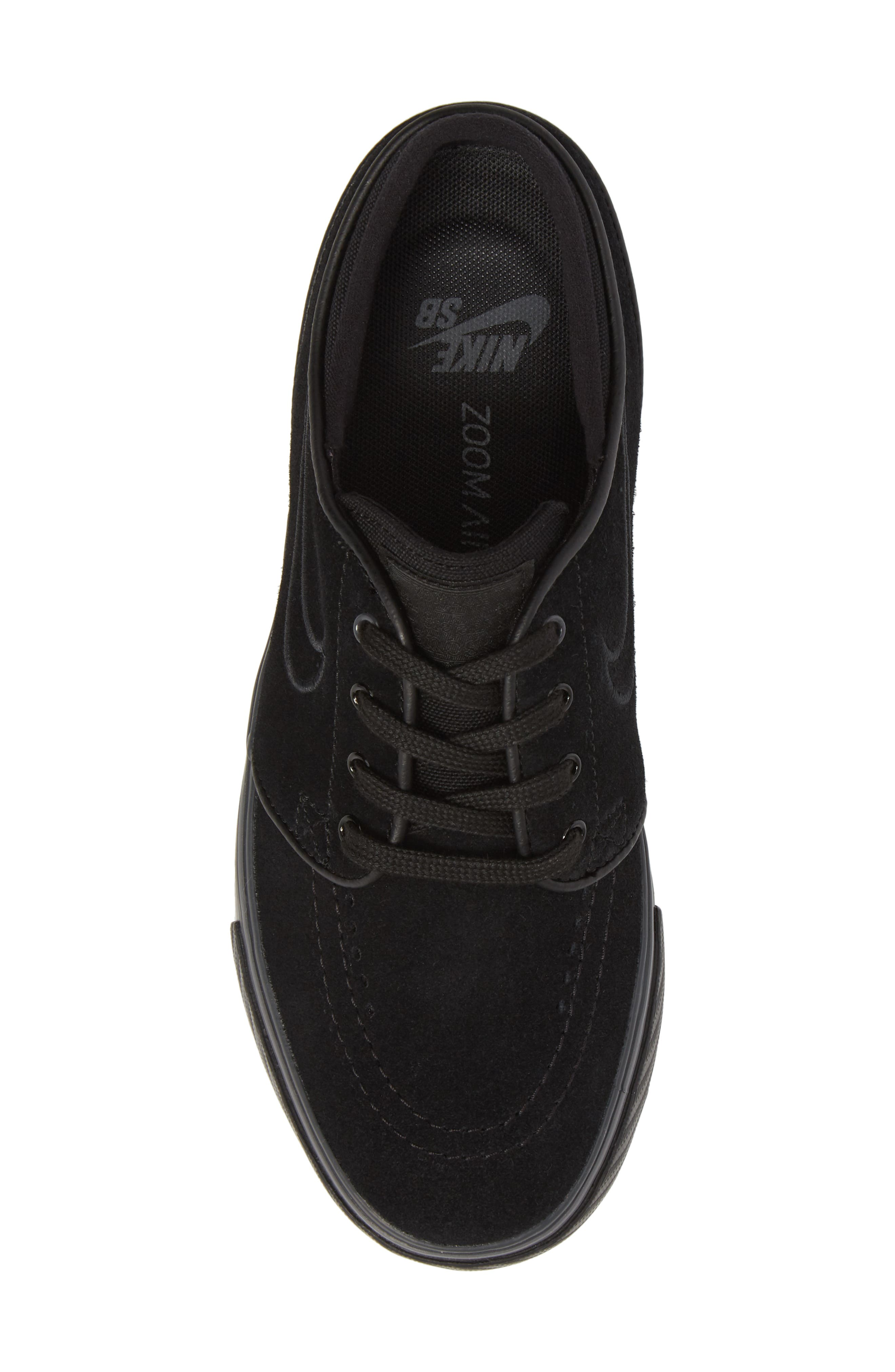 SB Air Zoom Stefan Janoski Skate Sneaker,                             Alternate thumbnail 5, color,                             Black/ Black/ Black