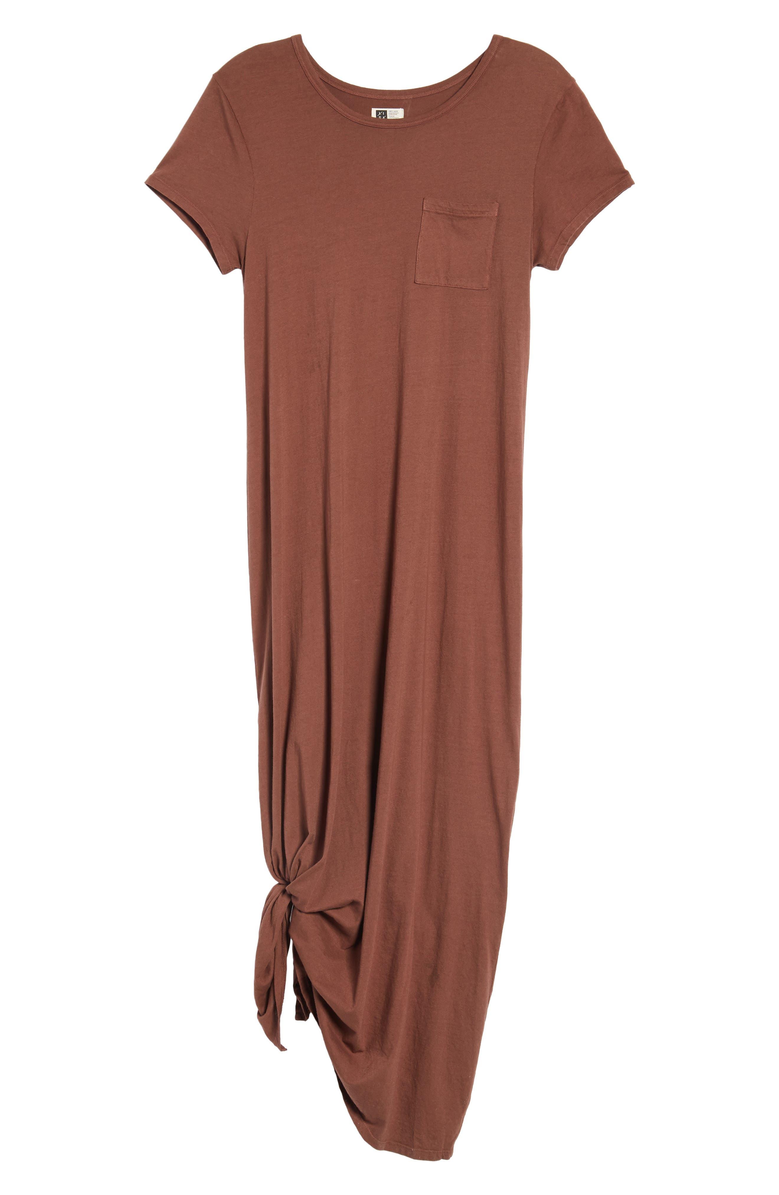 Alana Side Slit T-Shirt Dress,                             Main thumbnail 1, color,                             Nutmeg
