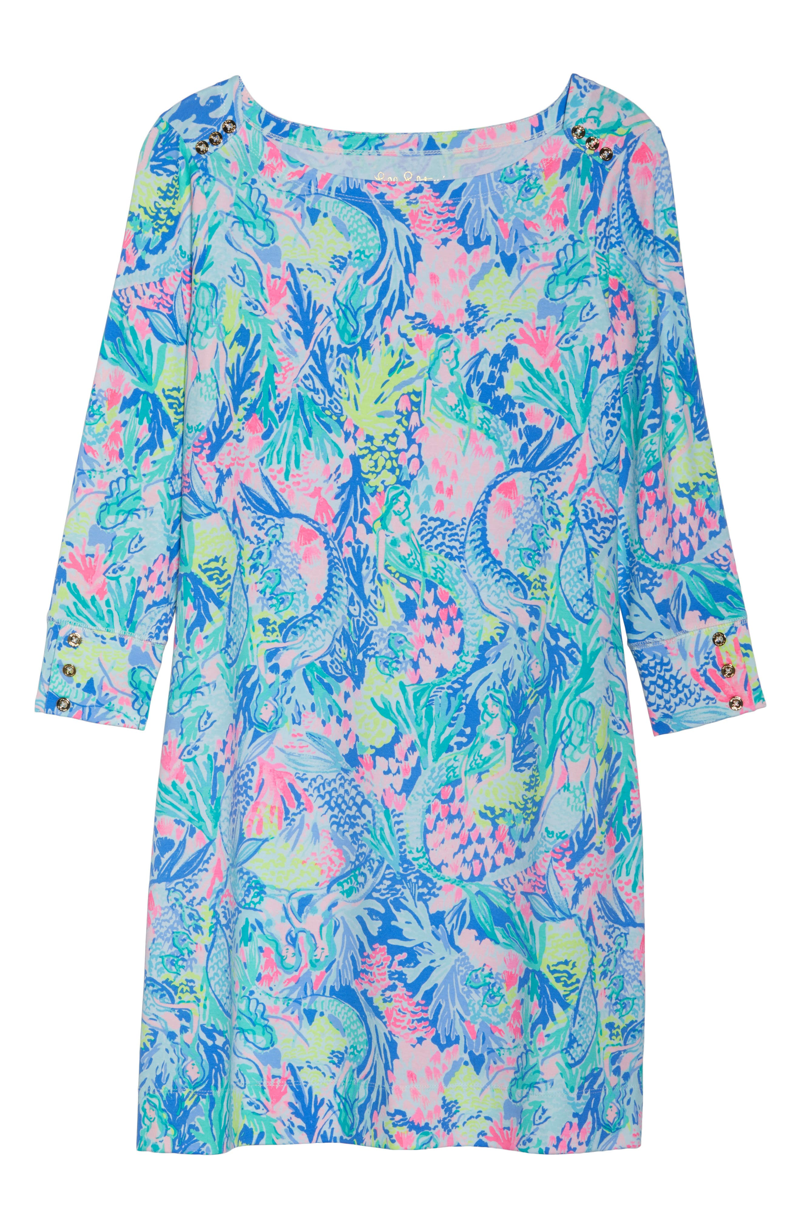 Sophie UPF 50+ Shift Dress,                             Alternate thumbnail 6, color,                             Multi Mermaids Cove
