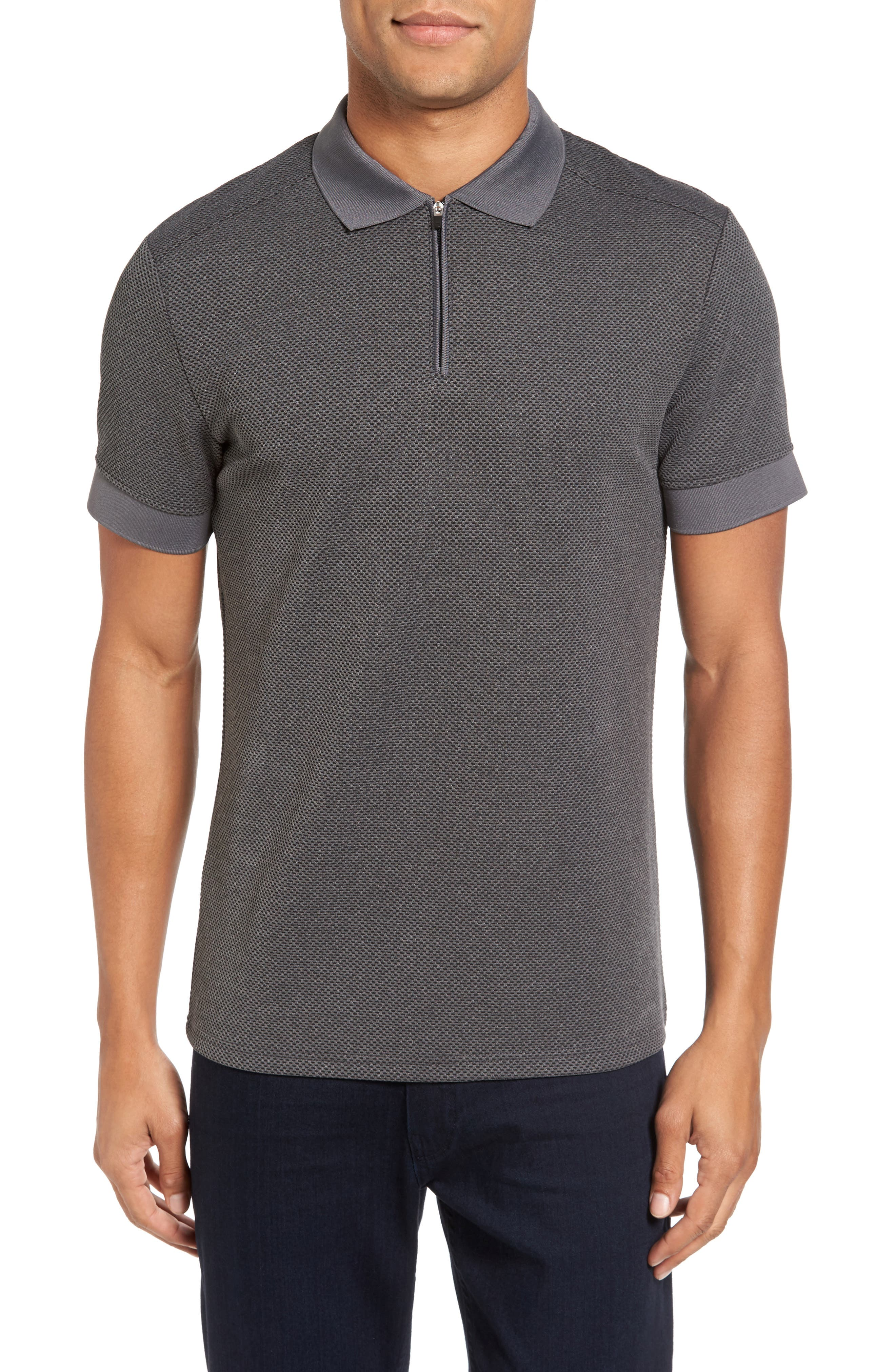 Slim Fit Mesh Polo,                         Main,                         color, Heather Charcoal