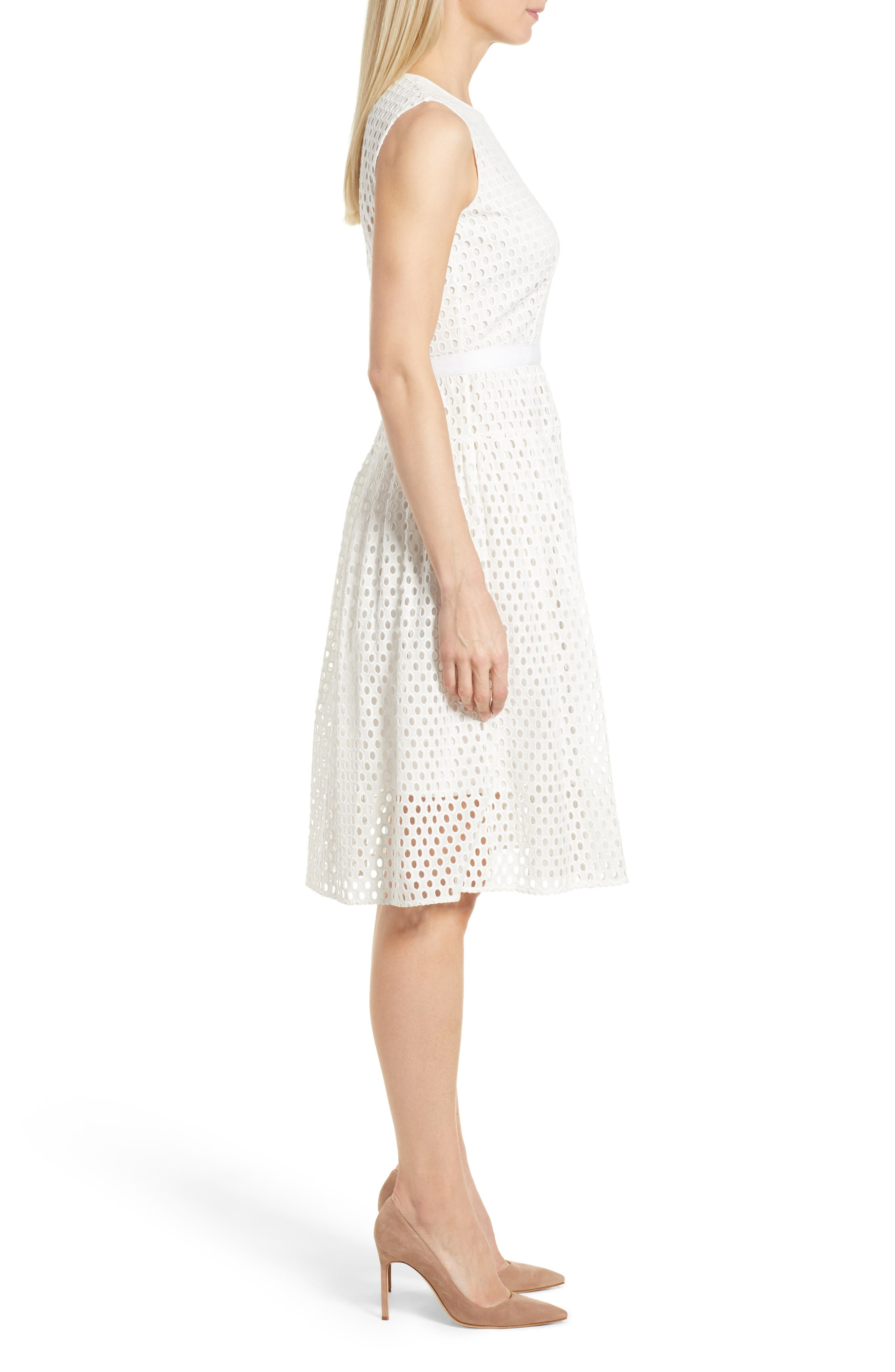 Dafalia Cotton Eyelet Dress,                             Alternate thumbnail 3, color,                             Vanilla Light