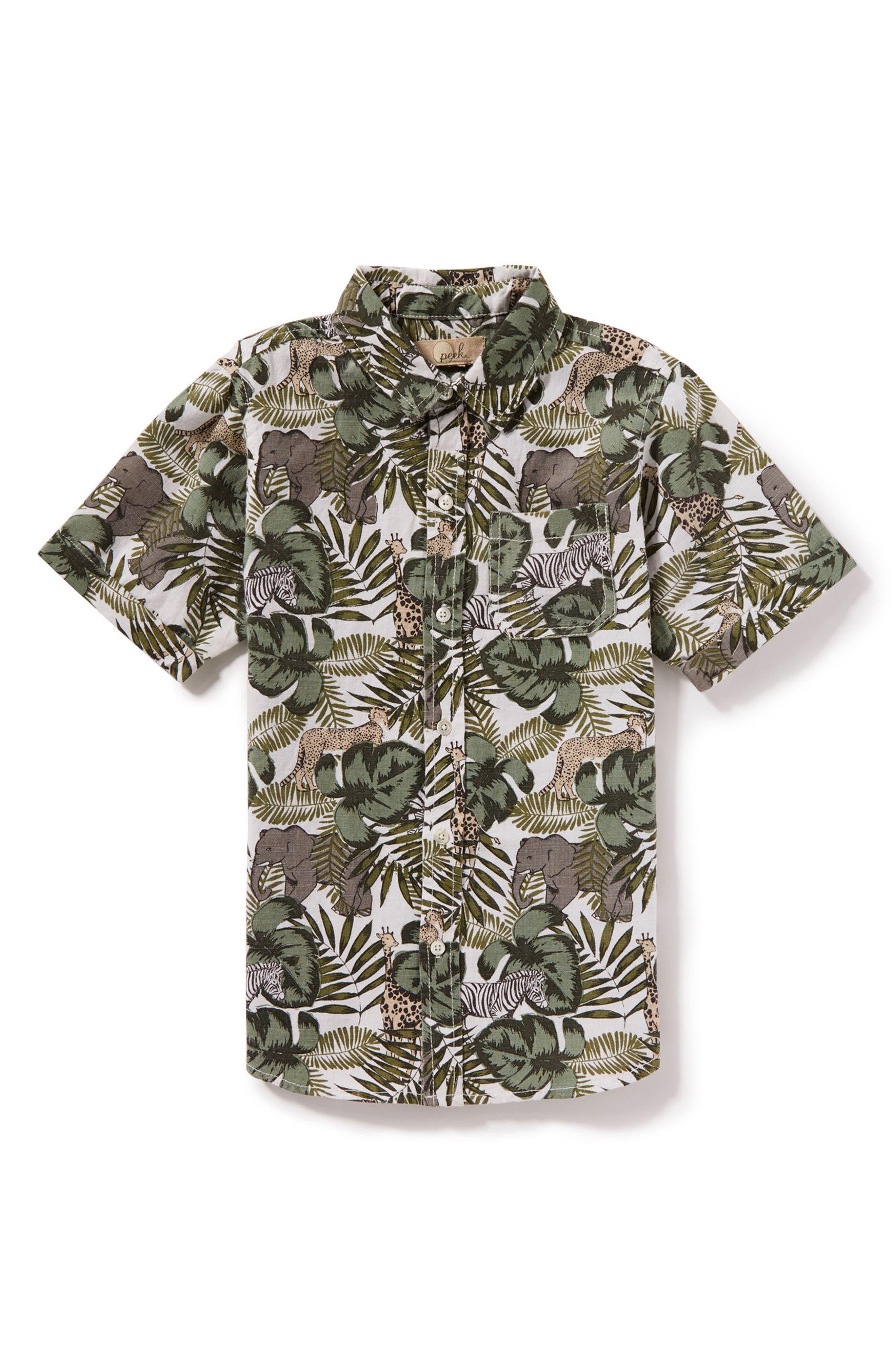 Animal Camo Woven Shirt,                         Main,                         color, Olive