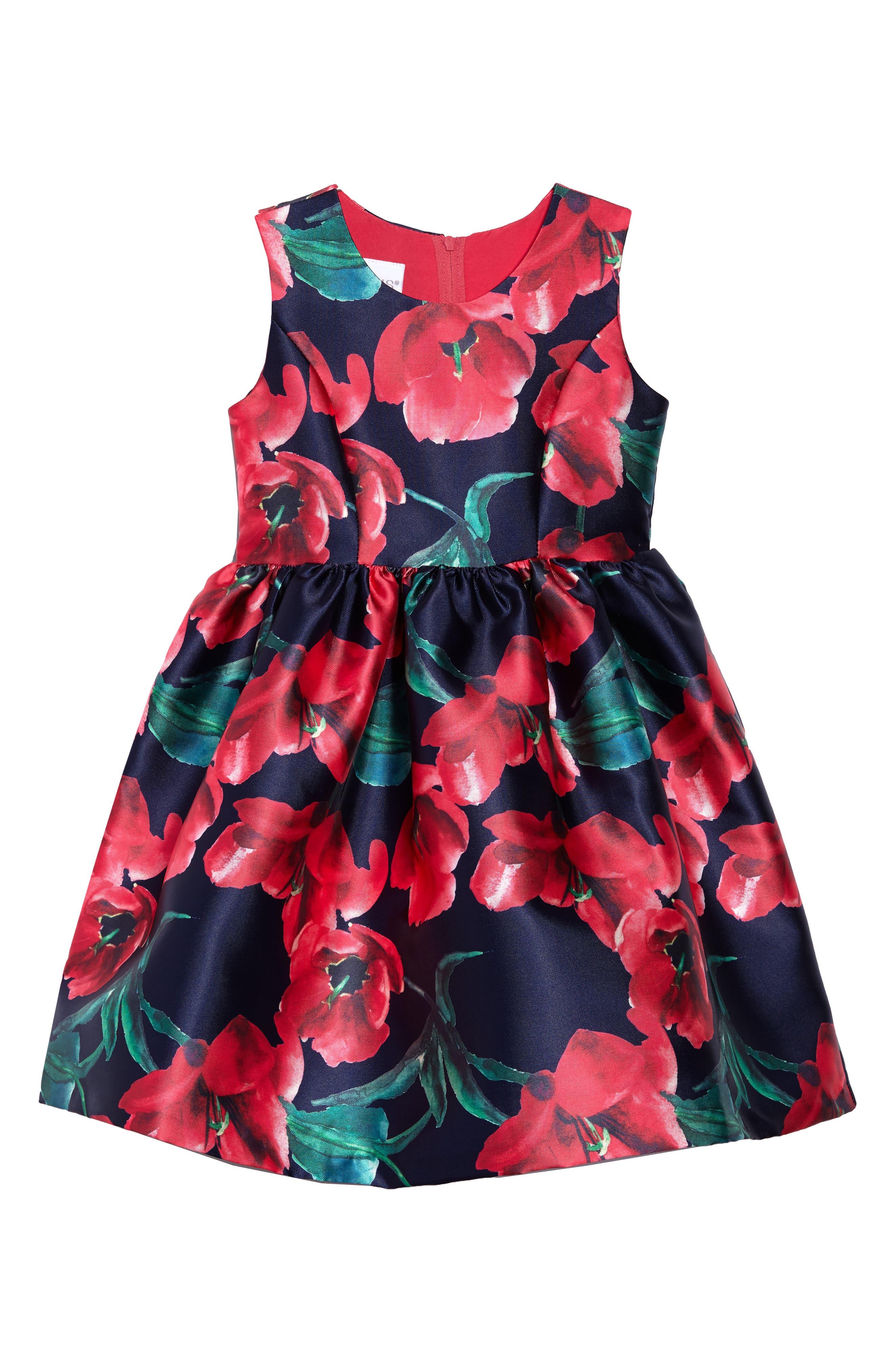 Poppy Party Dress,                             Main thumbnail 1, color,                             Navy/ Fuschia