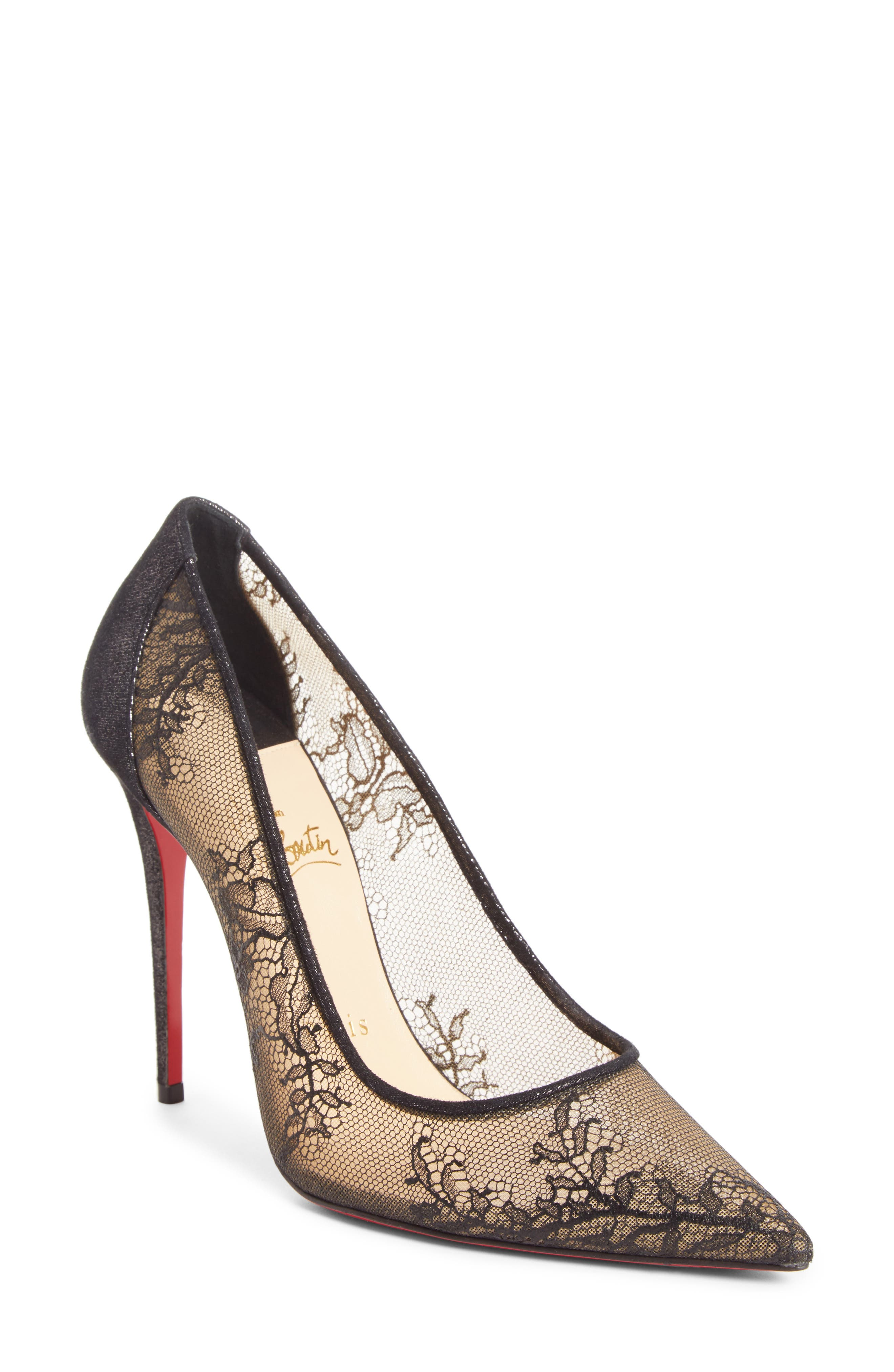 Christian Louboutin Floral Lace Pointy Toe Pump (Women)