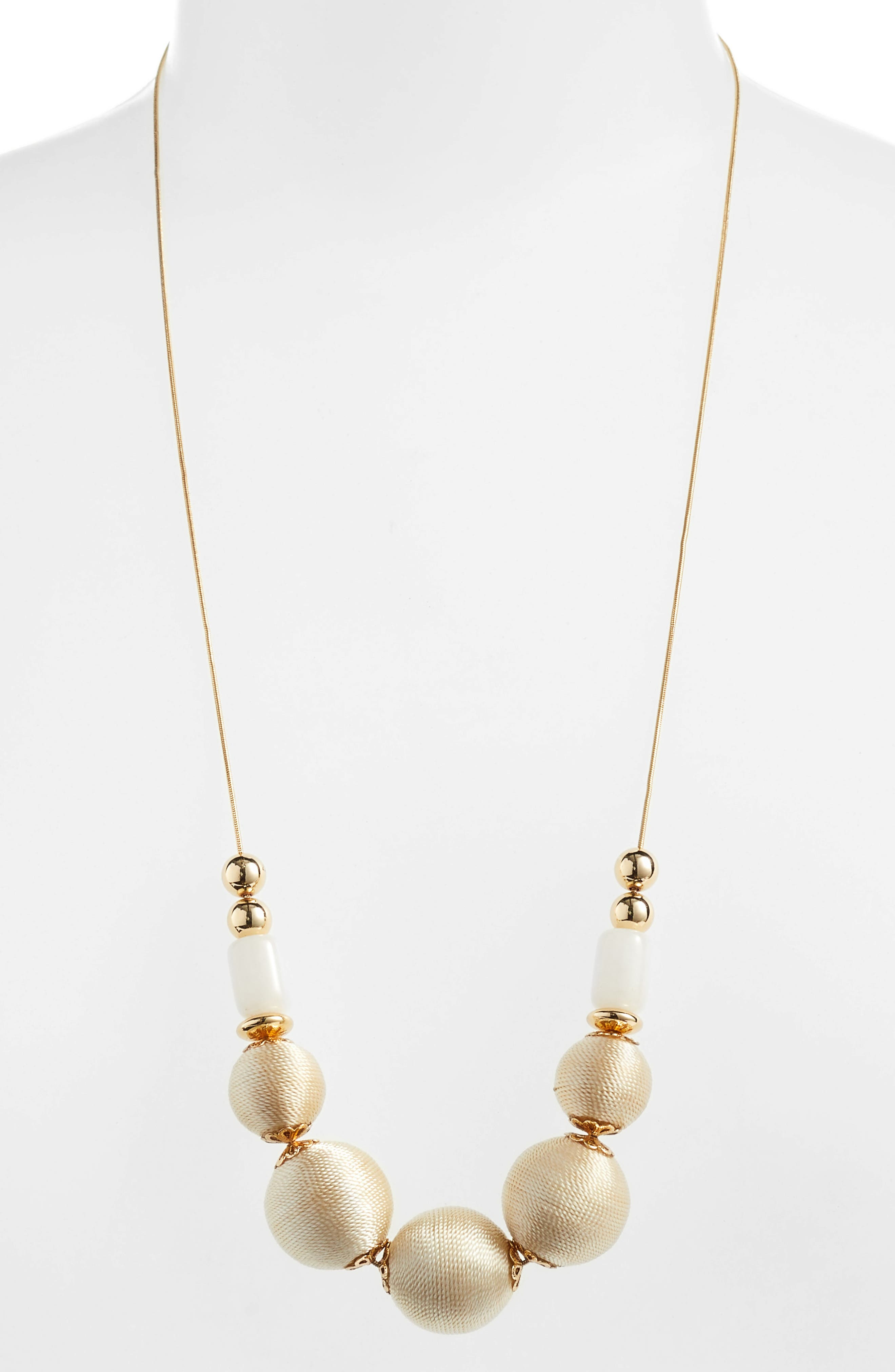 Wrapped Sphere Slider Necklace,                         Main,                         color, White- Gold