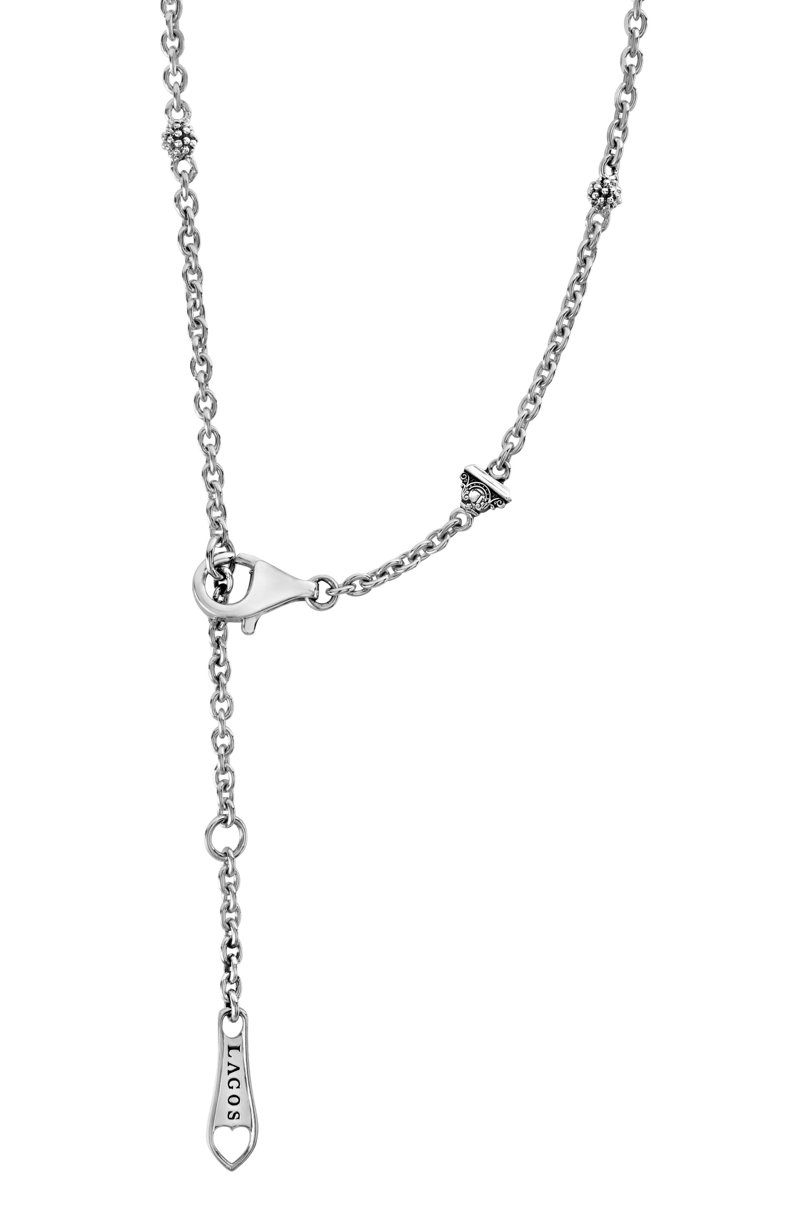 Caviar Talisman Marquee Ball Link Necklace,                             Alternate thumbnail 3, color,                             Silver/ Blue Topaz